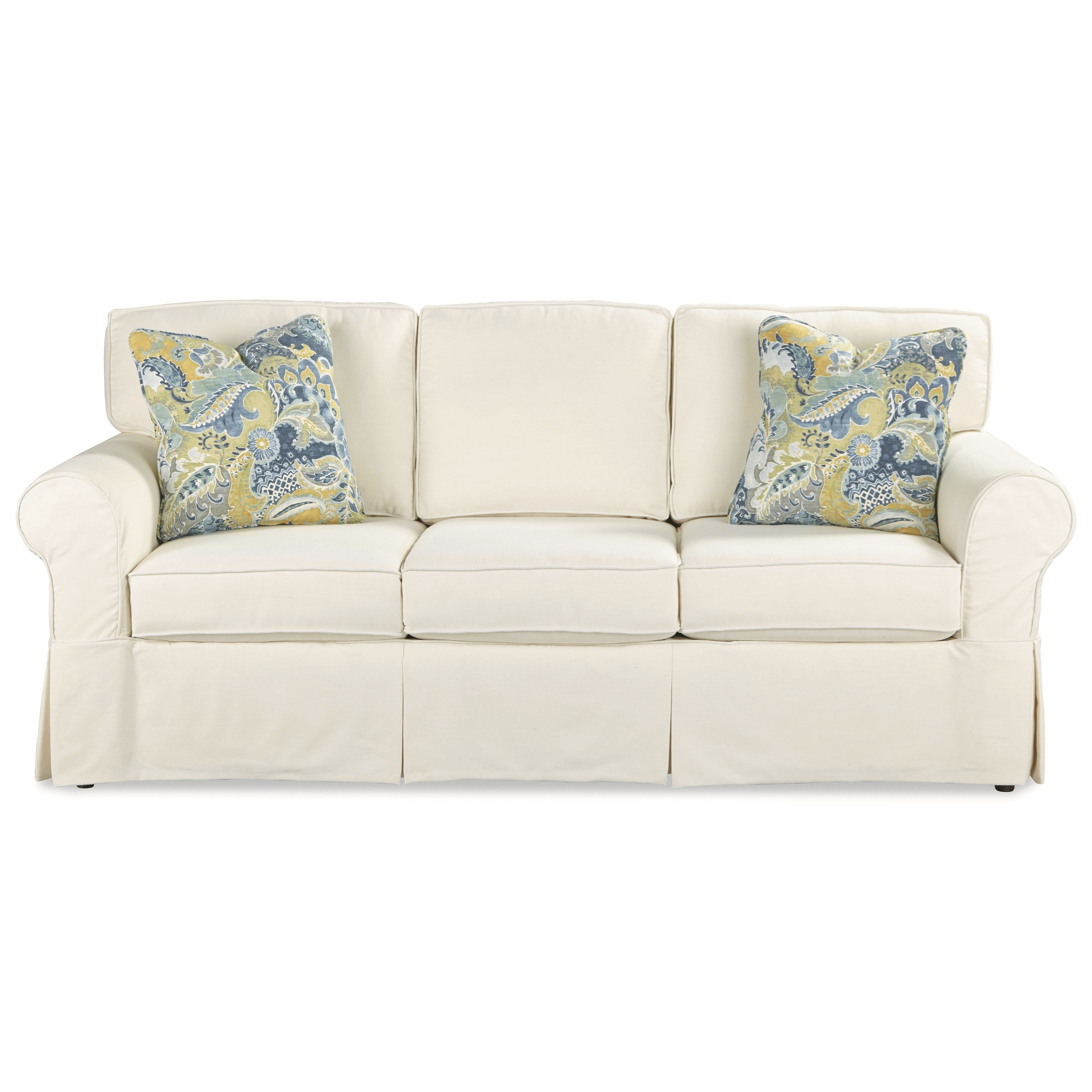 Casual slipcover sleeper sofa with queen innerspring for Casual couch