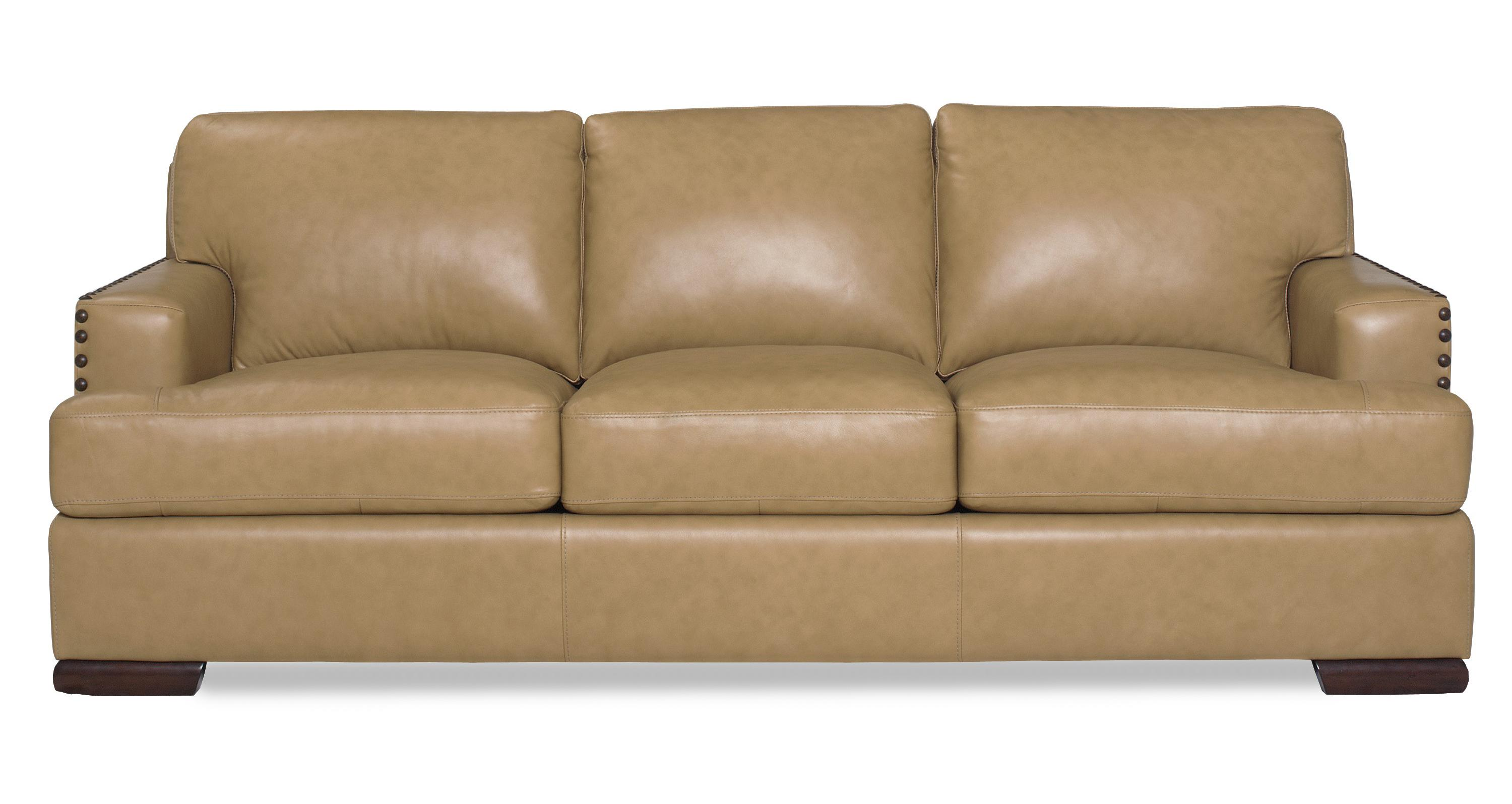 Contemporary sofa with nailhead studded track arms by for Studded sofa