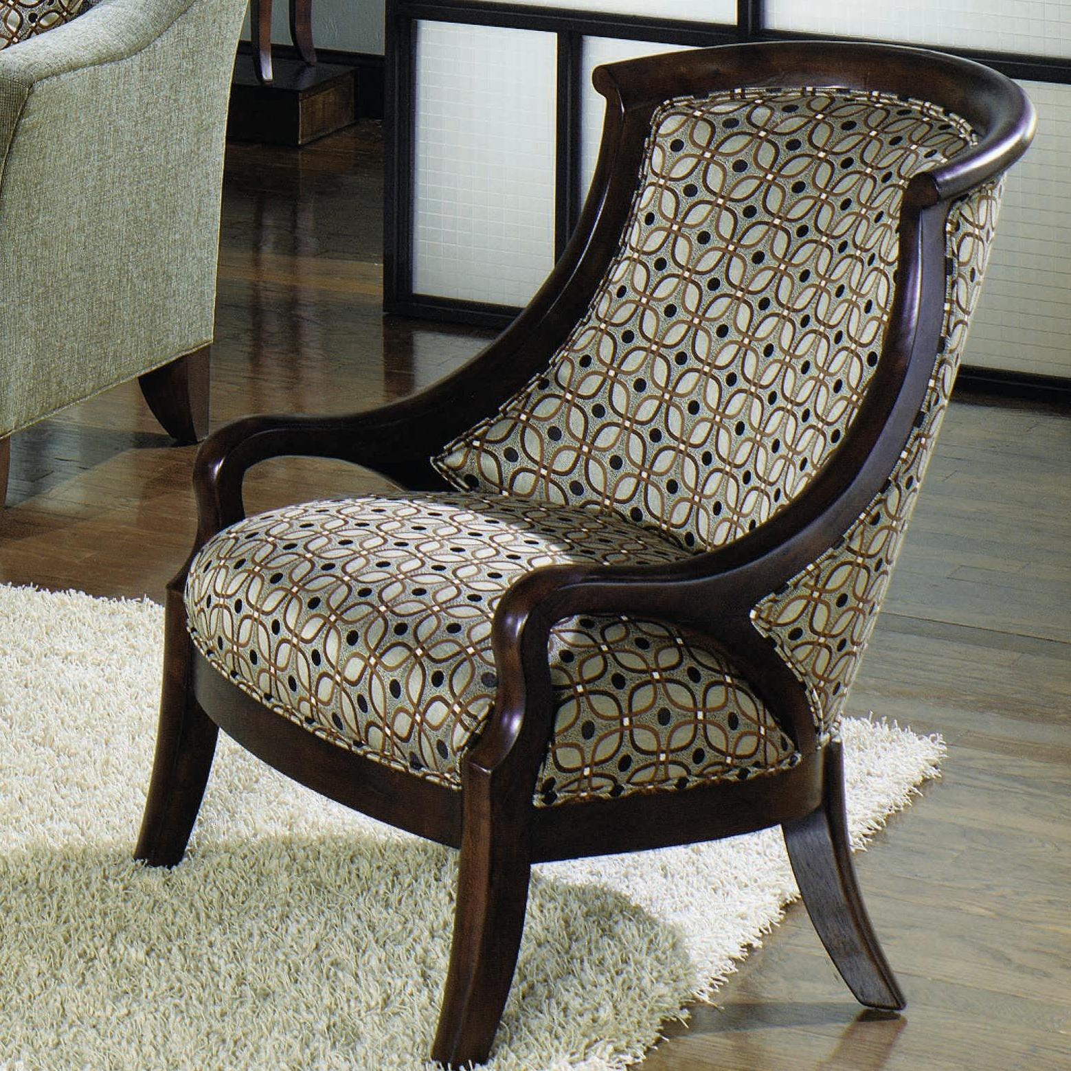 Contemporary Upholstered Barrel Back Exposed Wood Frame Arm Chair By . Full resolution  img, nominally Width 1559 Height 1559 pixels, img with #5E4C34.