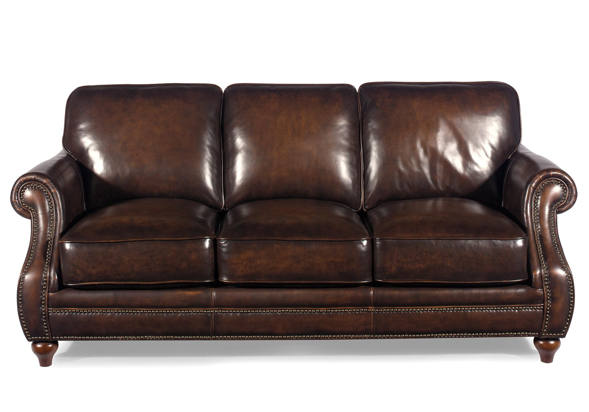 Traditional leather sofa with rolled arms and nailhead for Traditional couches