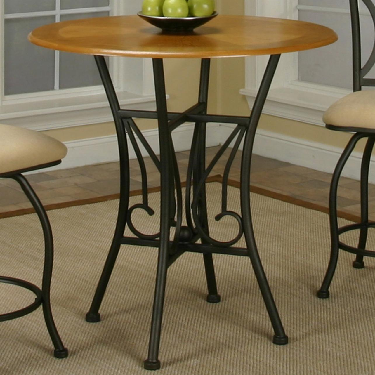 Round oak veneer wood top counter height table by cramco for Round counter height table