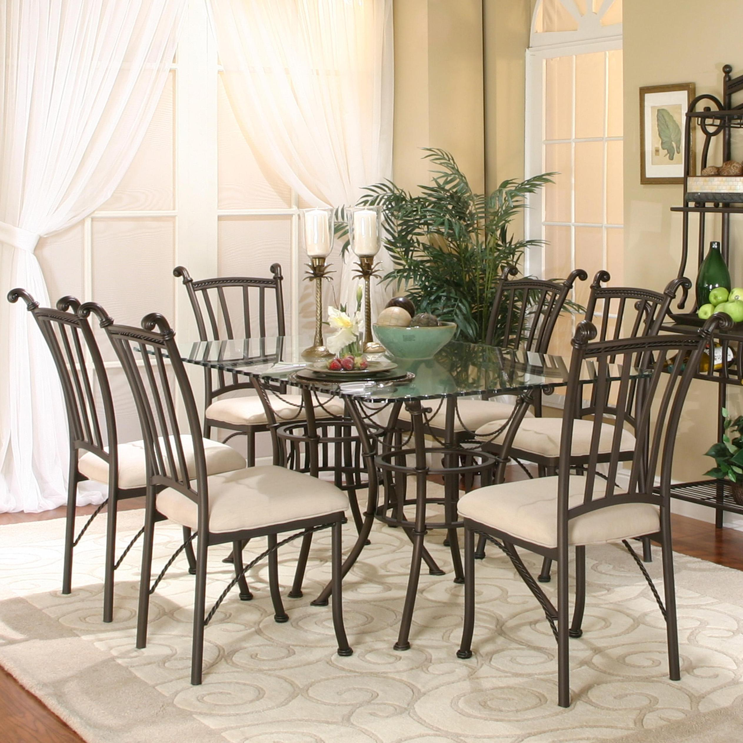 7 piece rectangular glass table with chairs by cramco inc for Dining room tables 11 piece