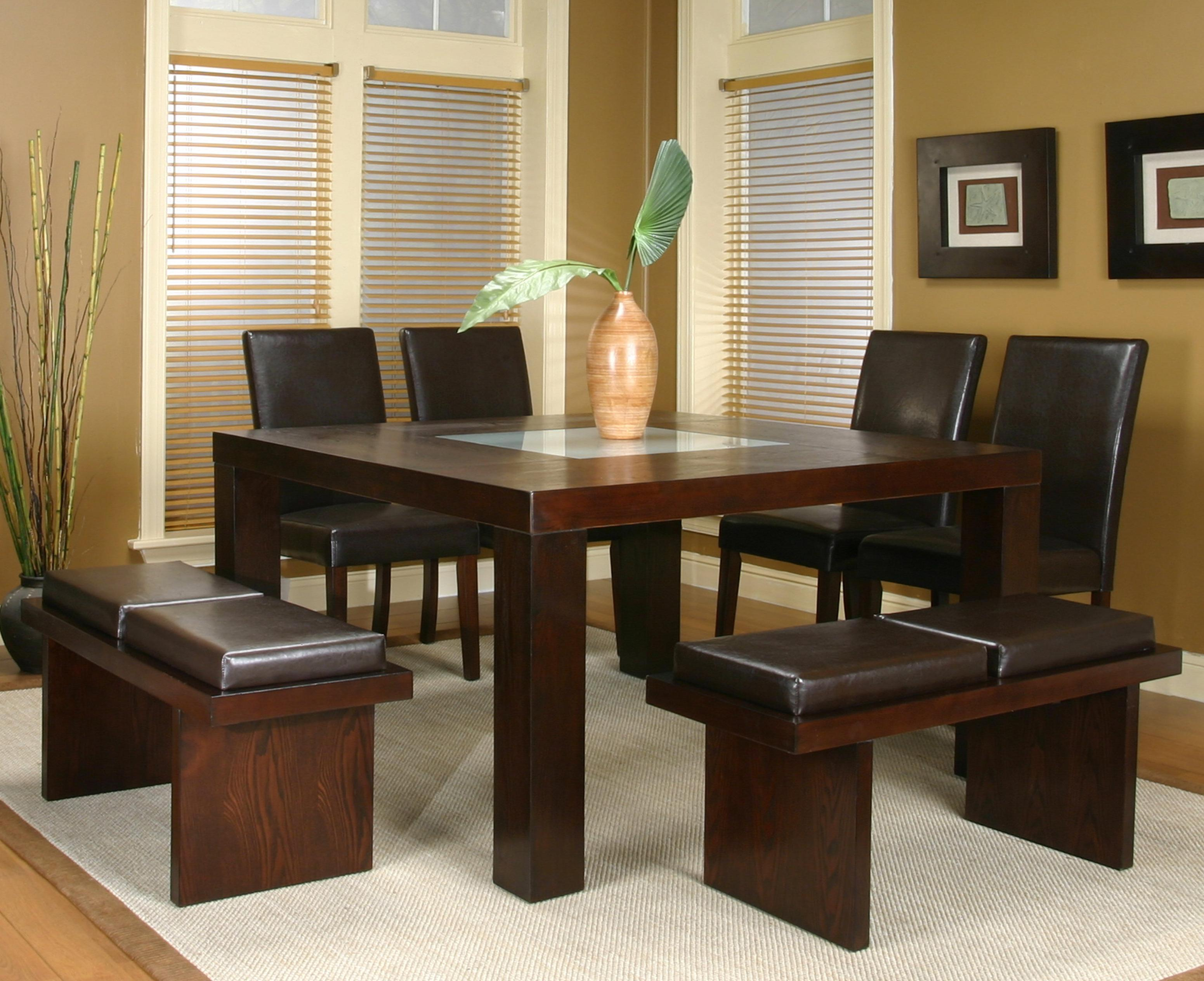 Square dining table with frosted glass insert by cramco for Square glass dining table