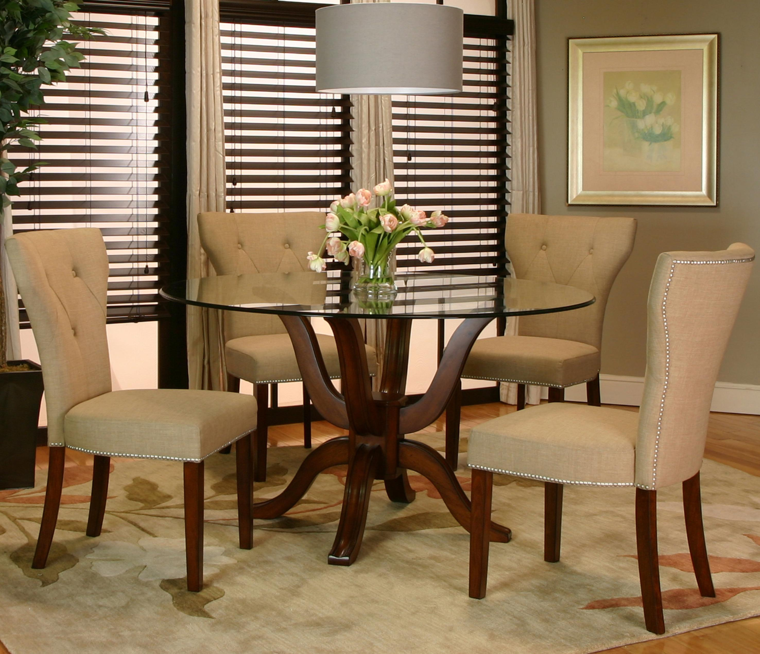 round single pedestal table w glass top by cramco inc wolf and gardiner wolf furniture. Black Bedroom Furniture Sets. Home Design Ideas