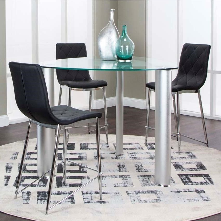 Counter Height Glass Dining Table Set : 45