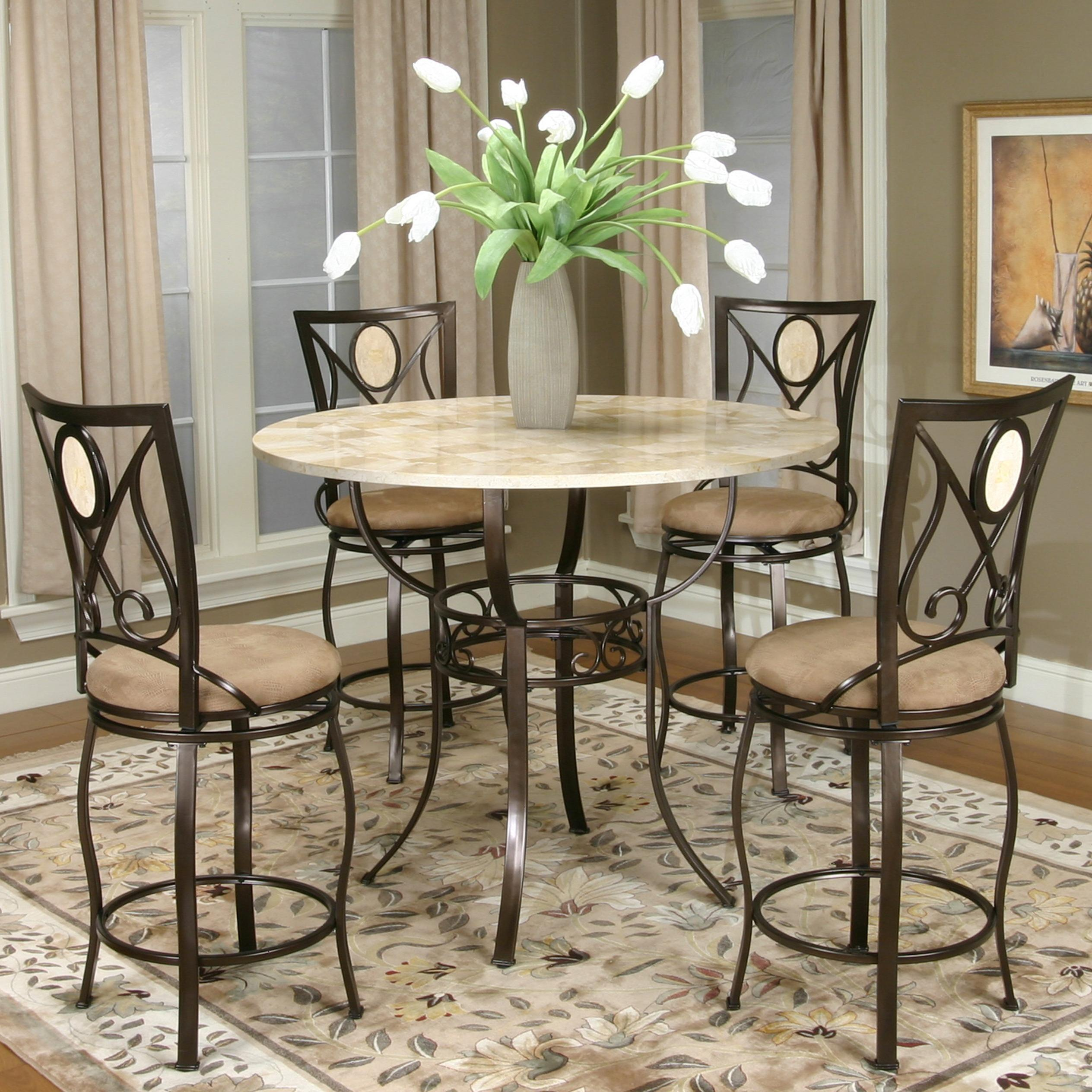 Counter Height Round Pub Table : Bronze Counter Height Pub Table with Round Glacier Inlaid Marble Top ...