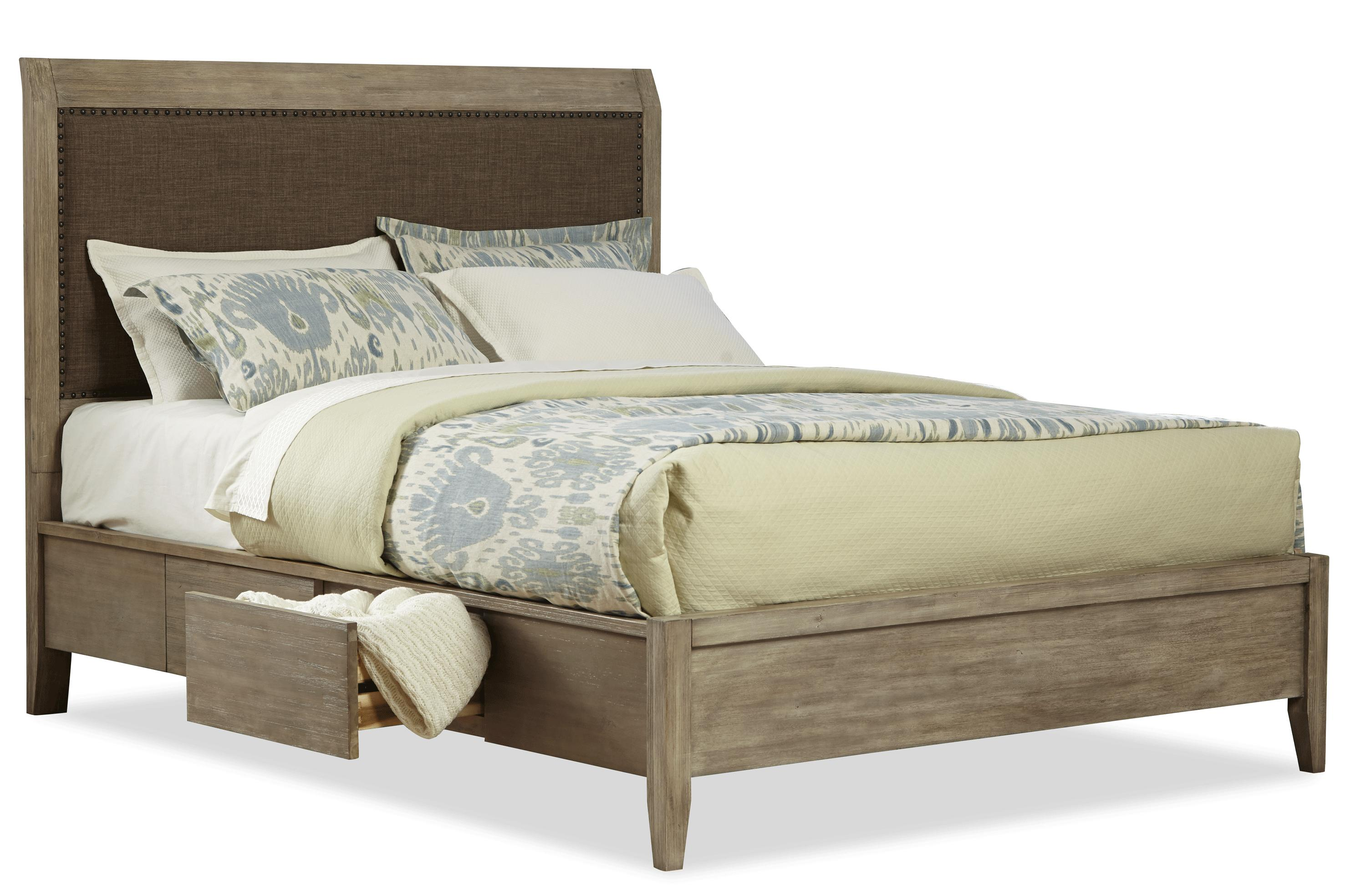 Queen Upholstered Low Profile Bed W Storage By Cresent