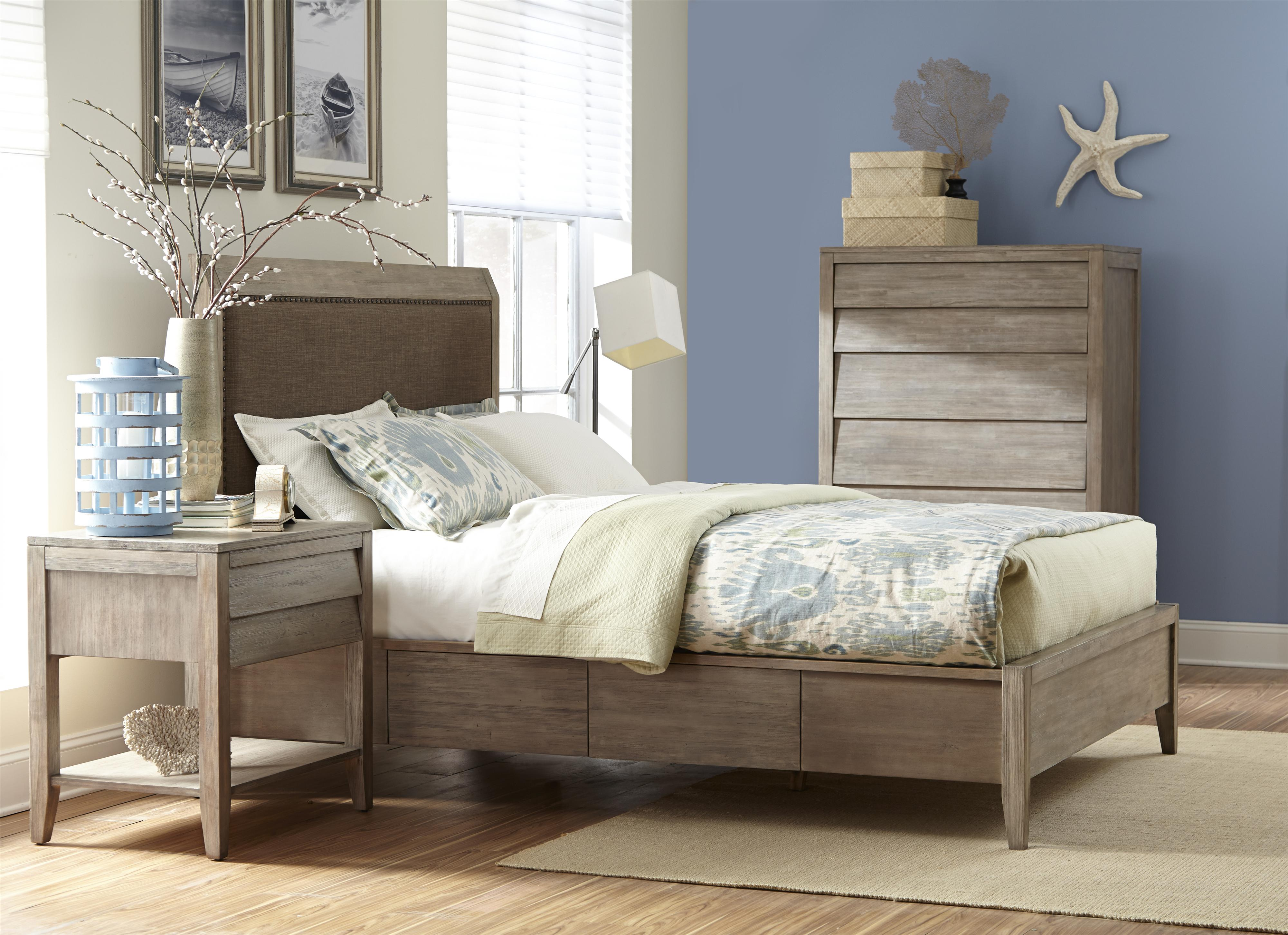 Queen Upholstered Low Profile Bed W Storage By Cresent Fine Furniture Wolf And Gardiner Wolf