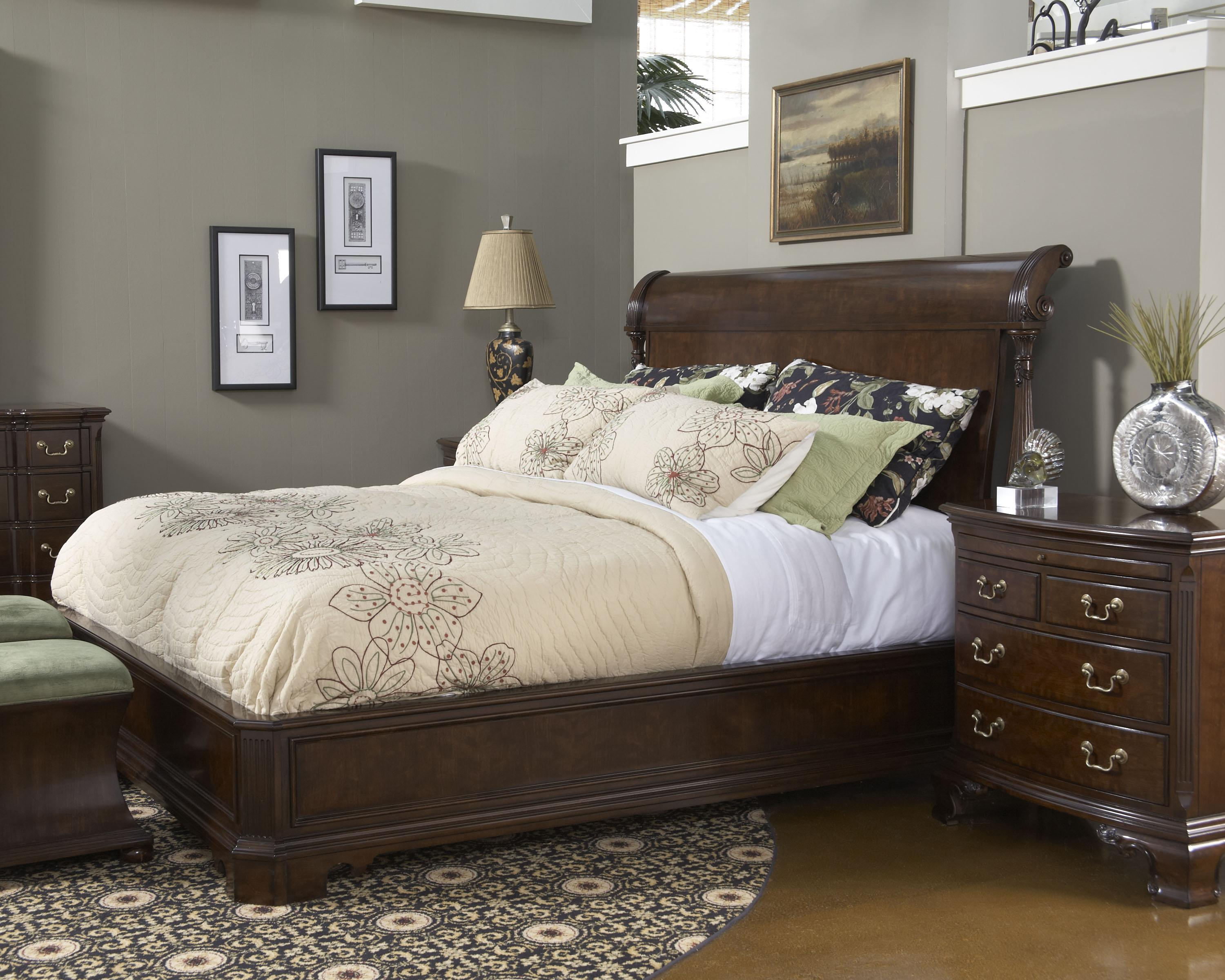 King size charleston platform panel bed with rounded headboard by fine furniture design wolf American home furniture bedroom sets