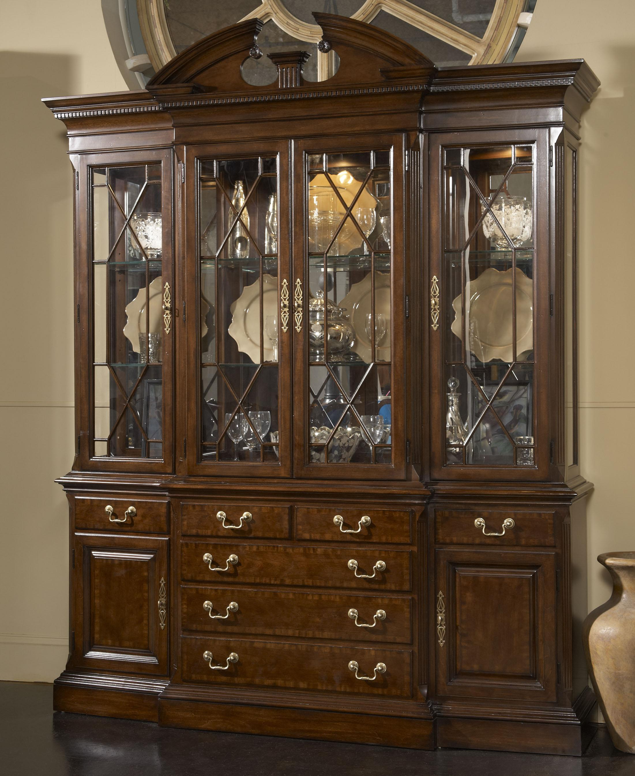 Wooden China Cabinet ~ Andover breakfront china cabinet with mirrored back panel