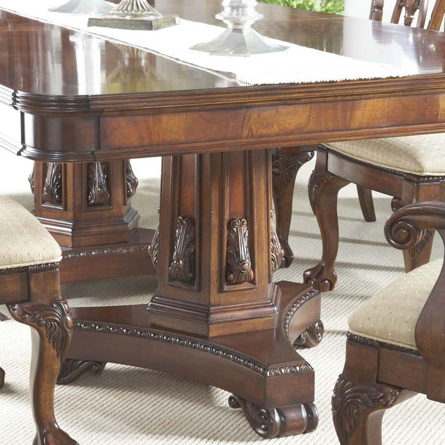 7 piece dining room set with elegant double pedestal table for Pedestal dining table and chairs