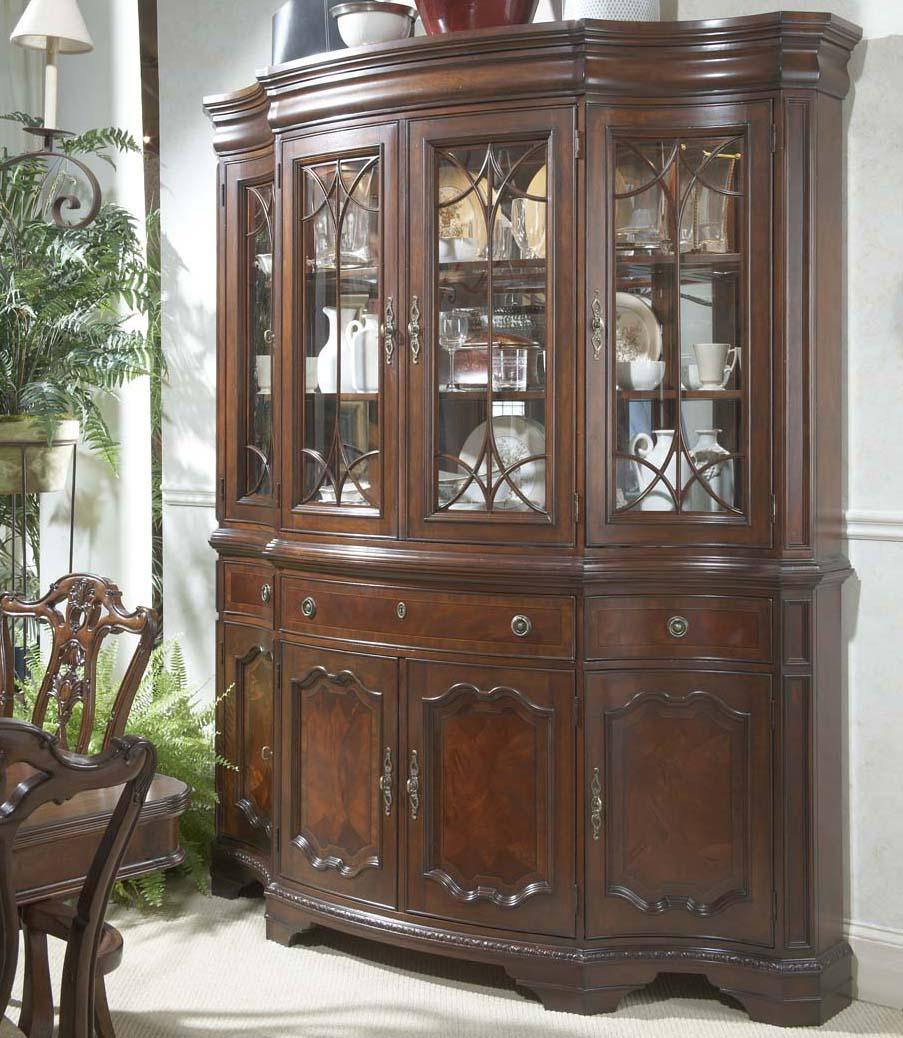 traditional china buffet hutch with glass doors and. Black Bedroom Furniture Sets. Home Design Ideas