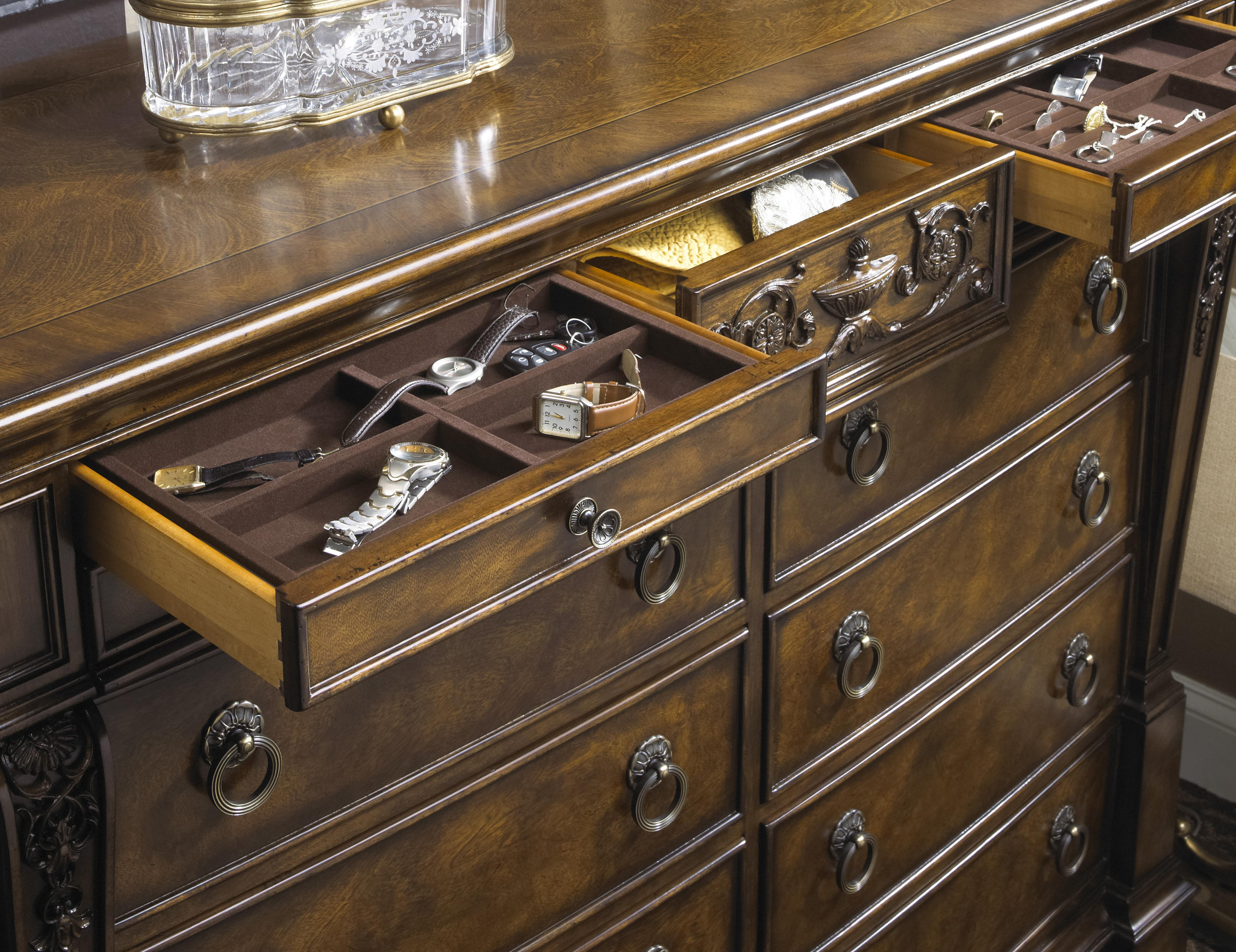 Traditional Antique Dresser Mirror Combo With Hidden