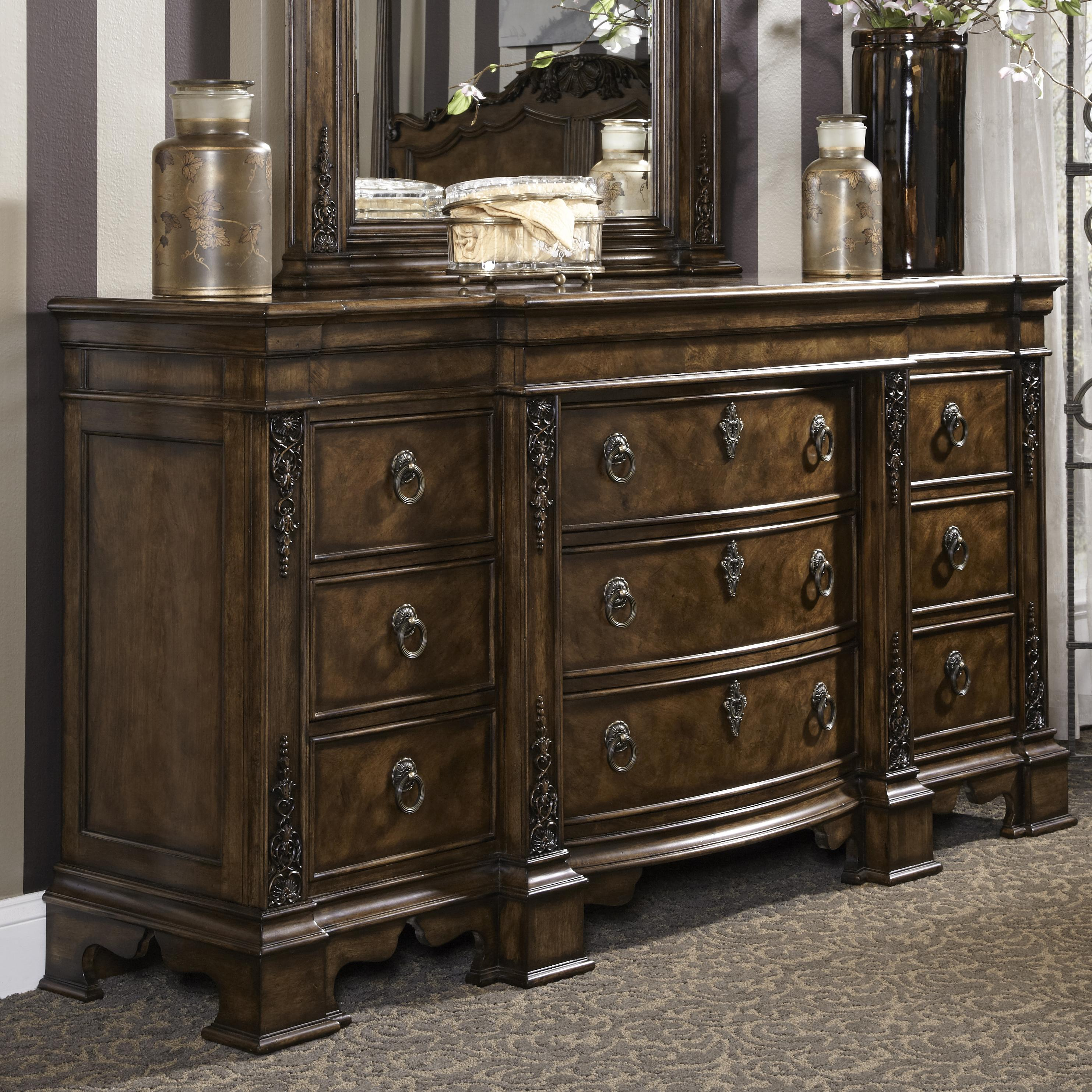 Traditional Dresser With Nine Drawers Including Hidden
