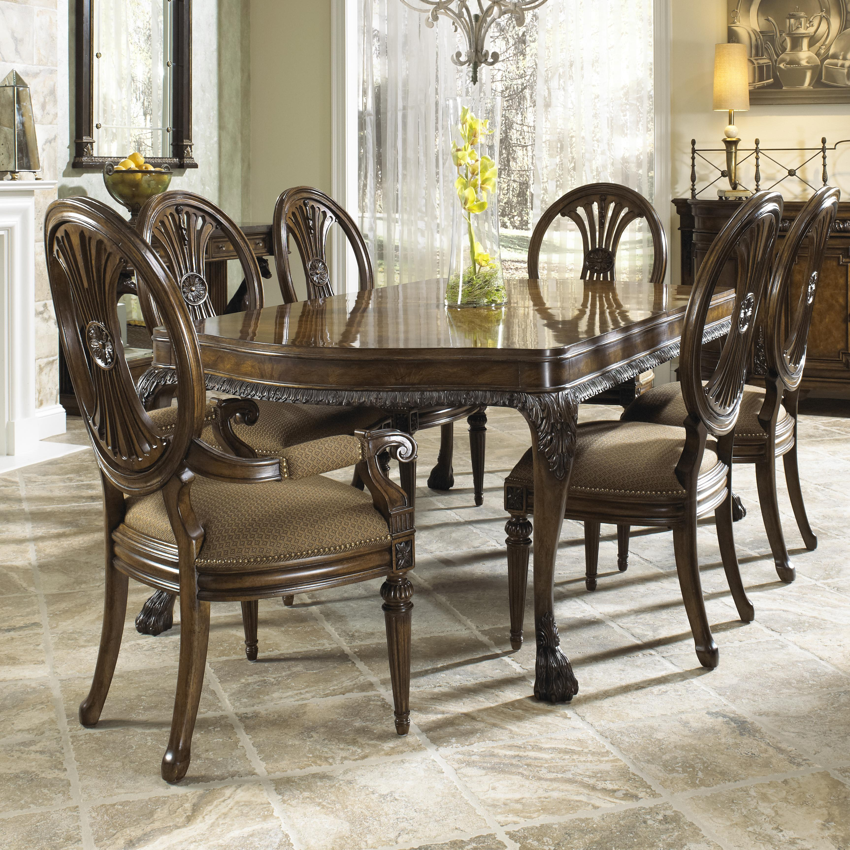 Traditional seven piece dining set with round backed for Fine dining room tables