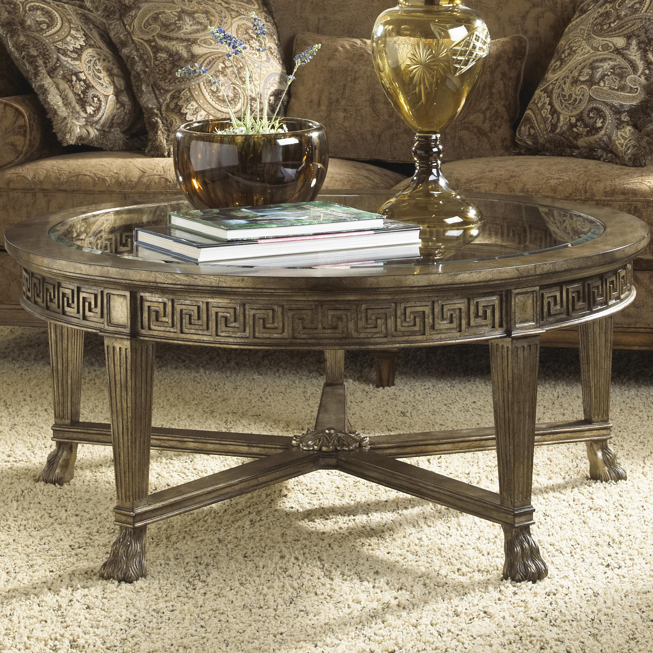 Grecian style round coffee table with glass top by fine for Round glass coffee table top