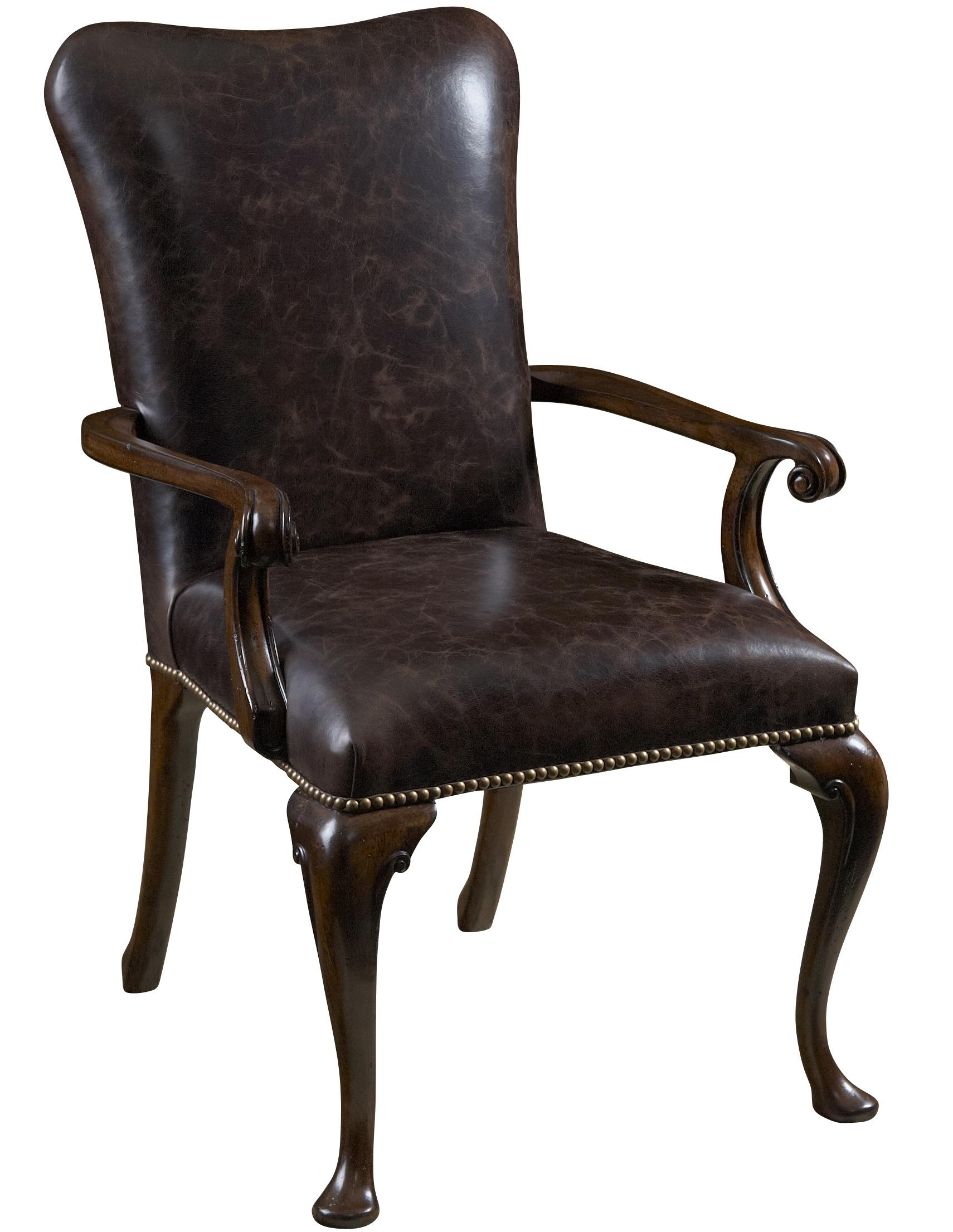 Leather upholstered dining arm chair by fine furniture for Upholstered arm dining chairs