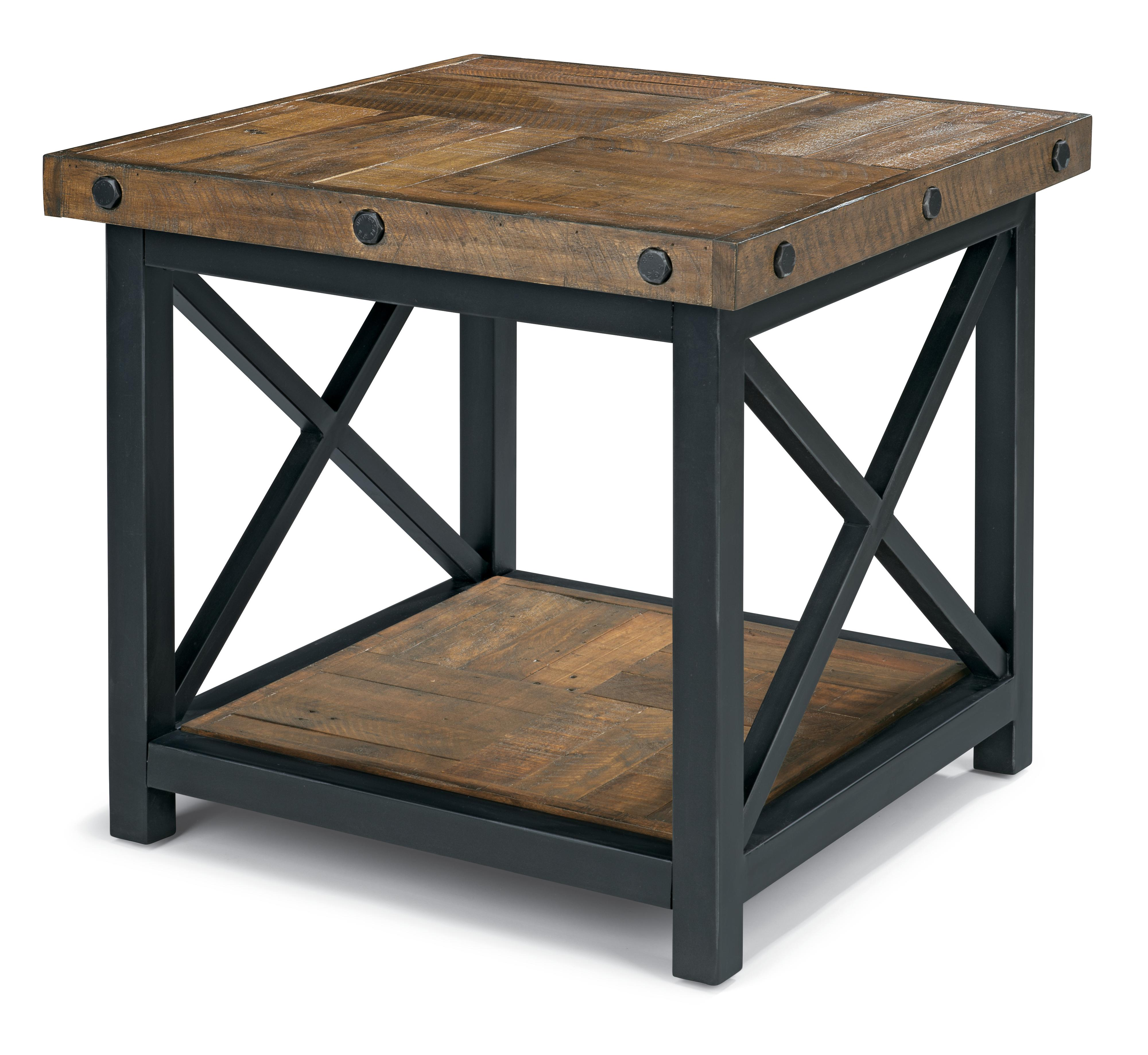 Square end table with wood plank top by flexsteel wolf for Coffee tables york pa
