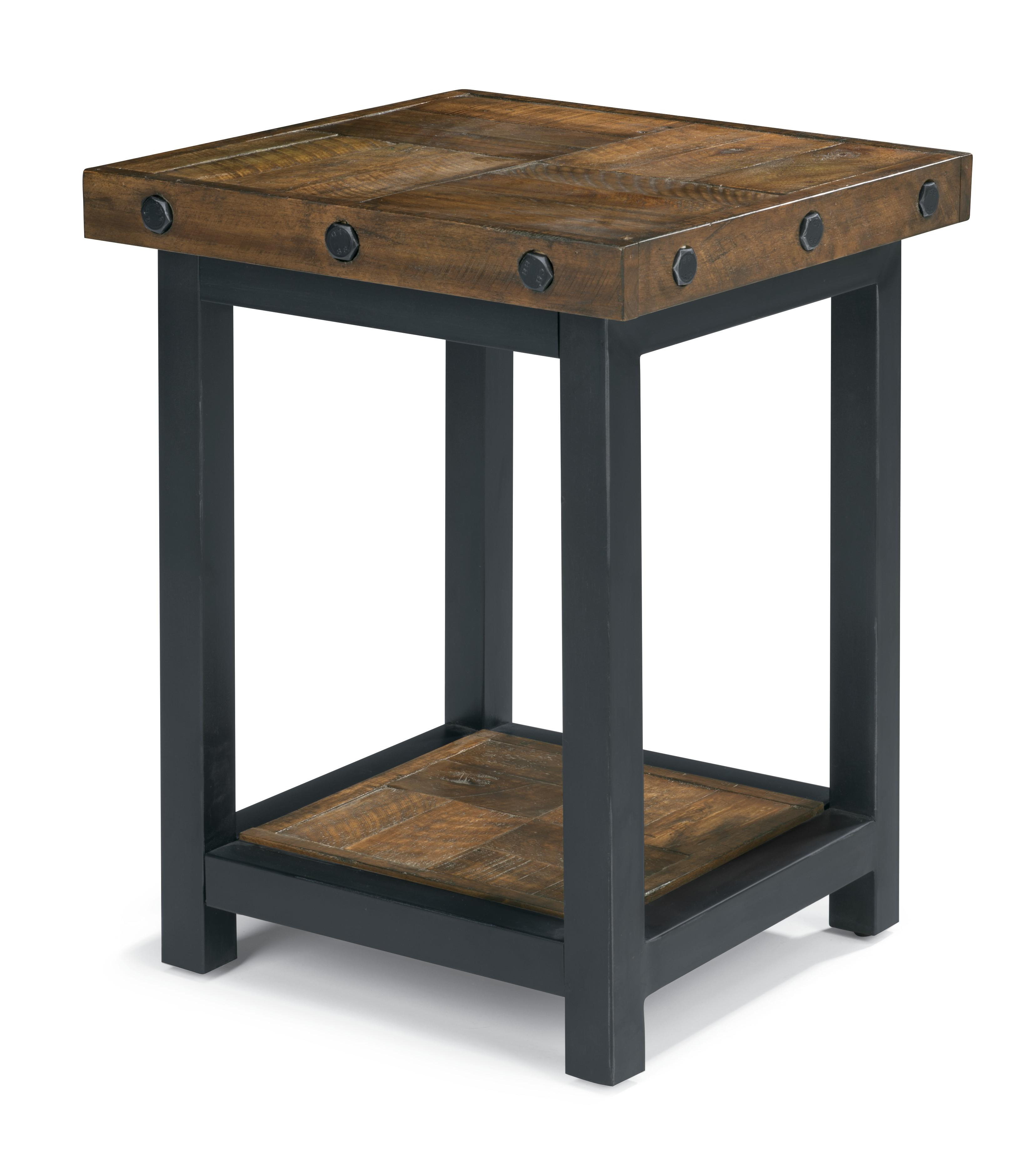 Chair side table with square reclaimed wood top by for Square side table