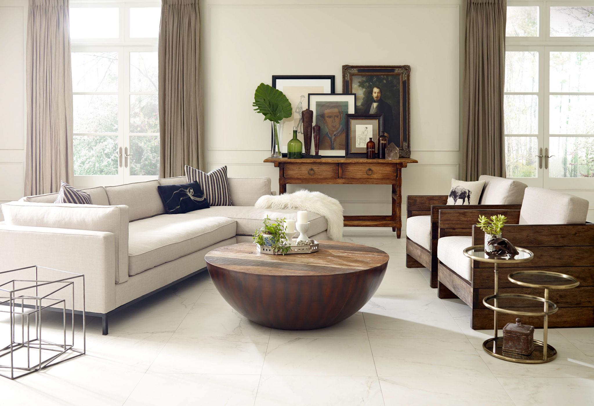 Round ryan coffee table by four hands wolf and gardiner for Coffee tables york pa