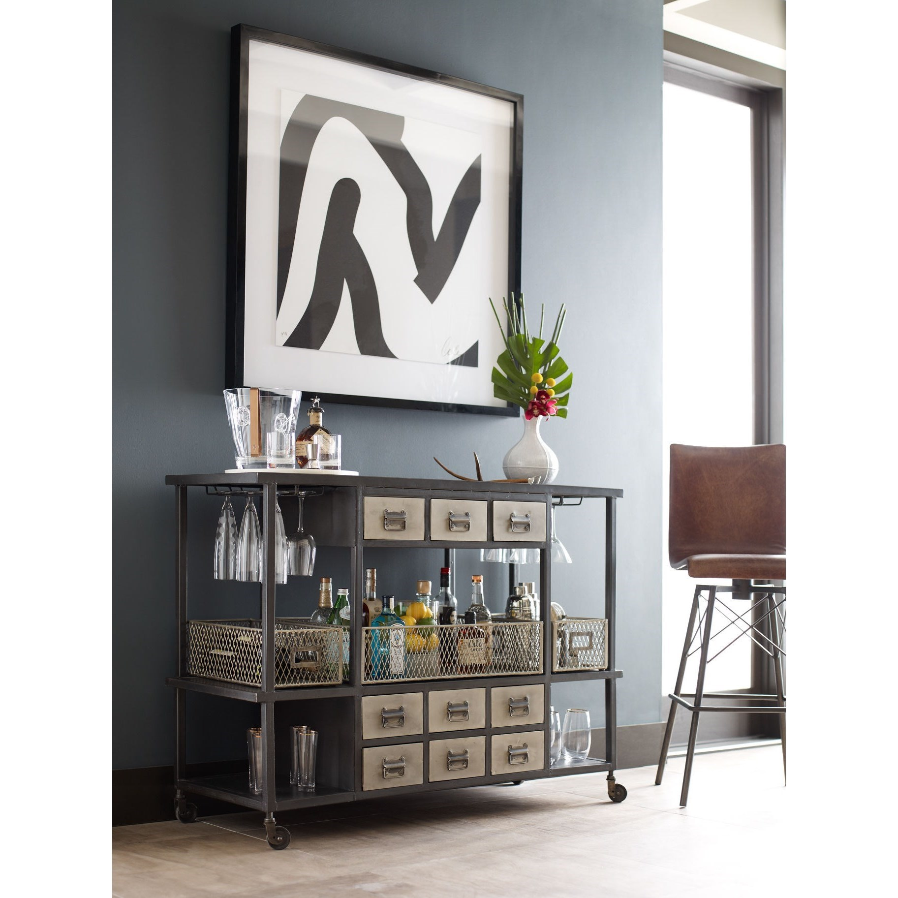 Industrial Bar Cart with Black Frame and Nickel Drawers by