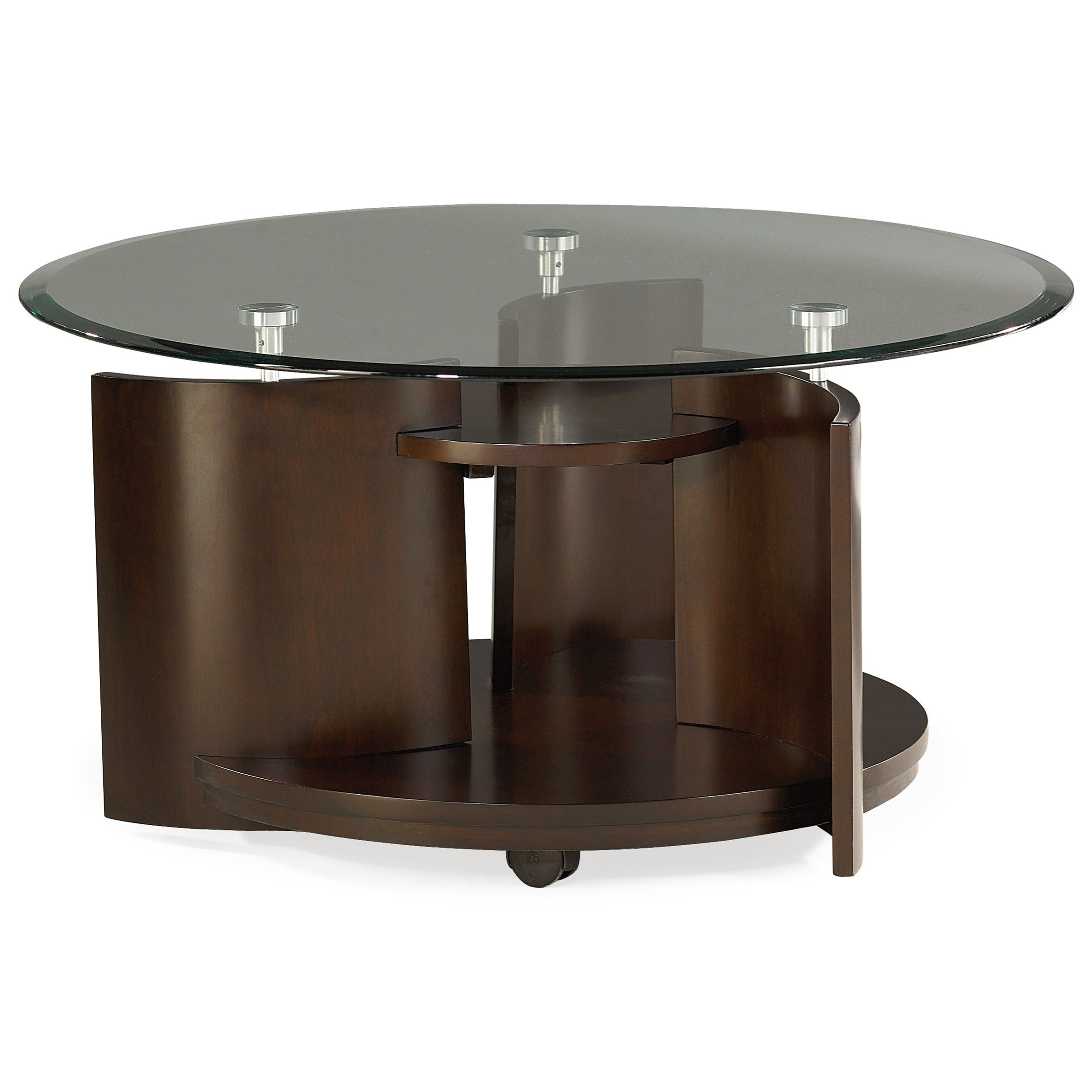 glass top round cocktail table by hammary wolf and