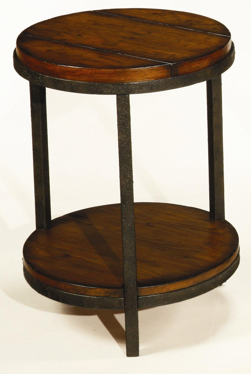 Round Side Table ~ Round end table with shelf by hammary wolf and gardiner