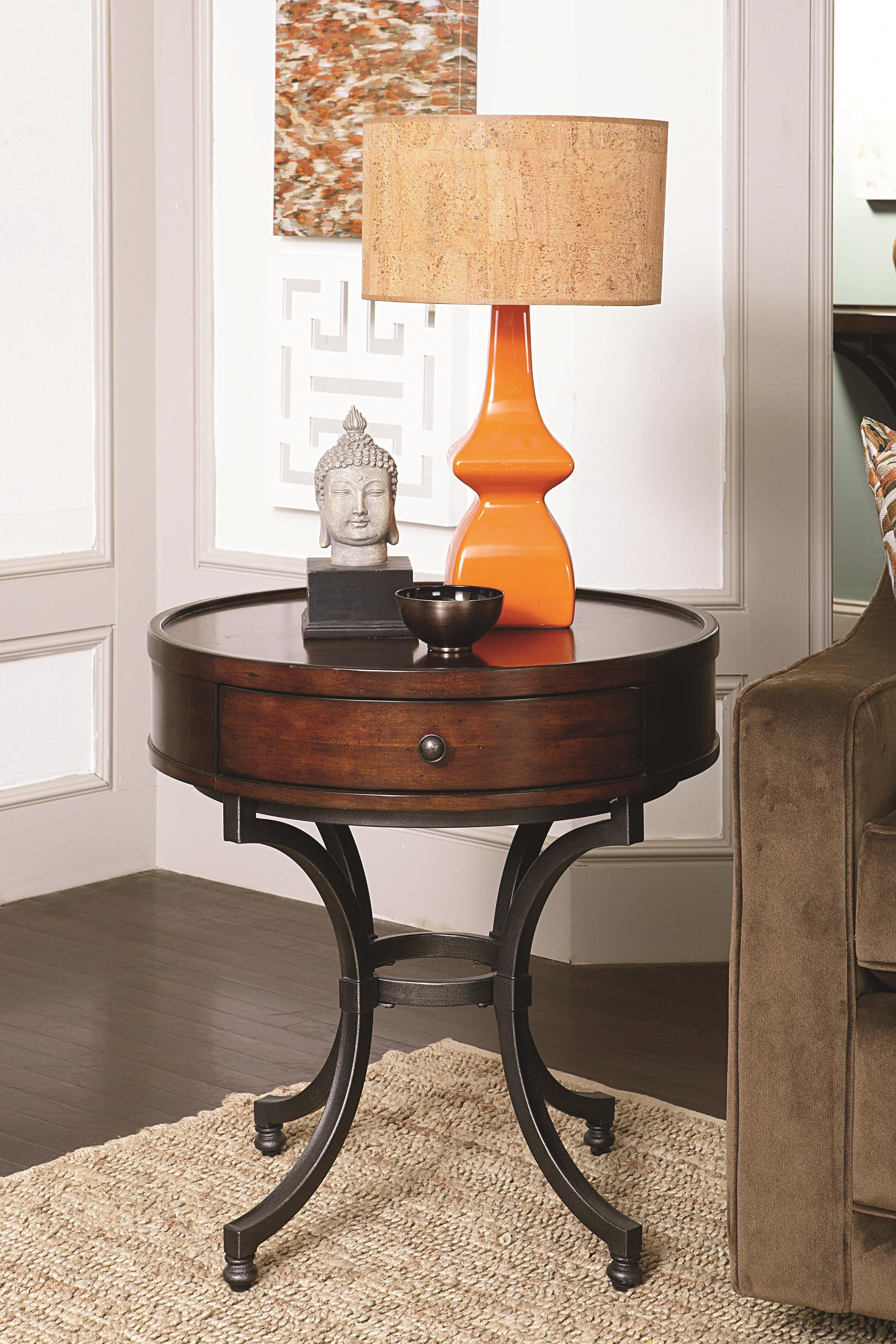 Round Side Table ~ Round end table with drawer by hammary wolf and