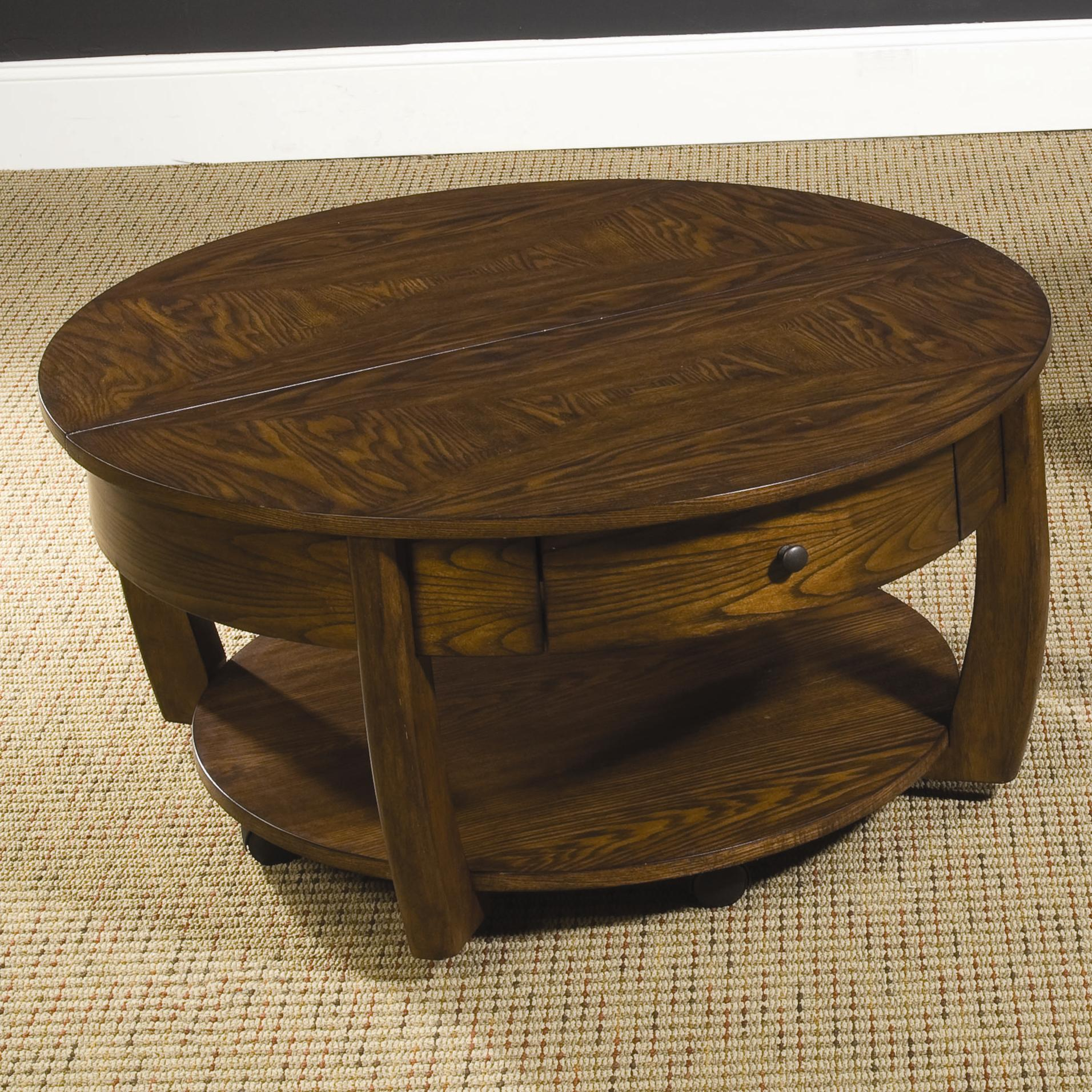 Round lift top cocktail table with lower shelf and drawer for Coffee table with drawers and shelf