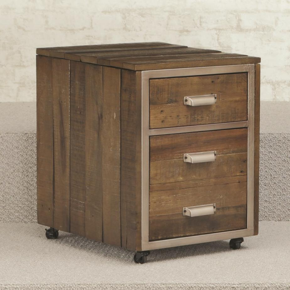 2 drawer mobile file cabinet with metal trim and casters by hammary wolf and gardiner wolf. Black Bedroom Furniture Sets. Home Design Ideas