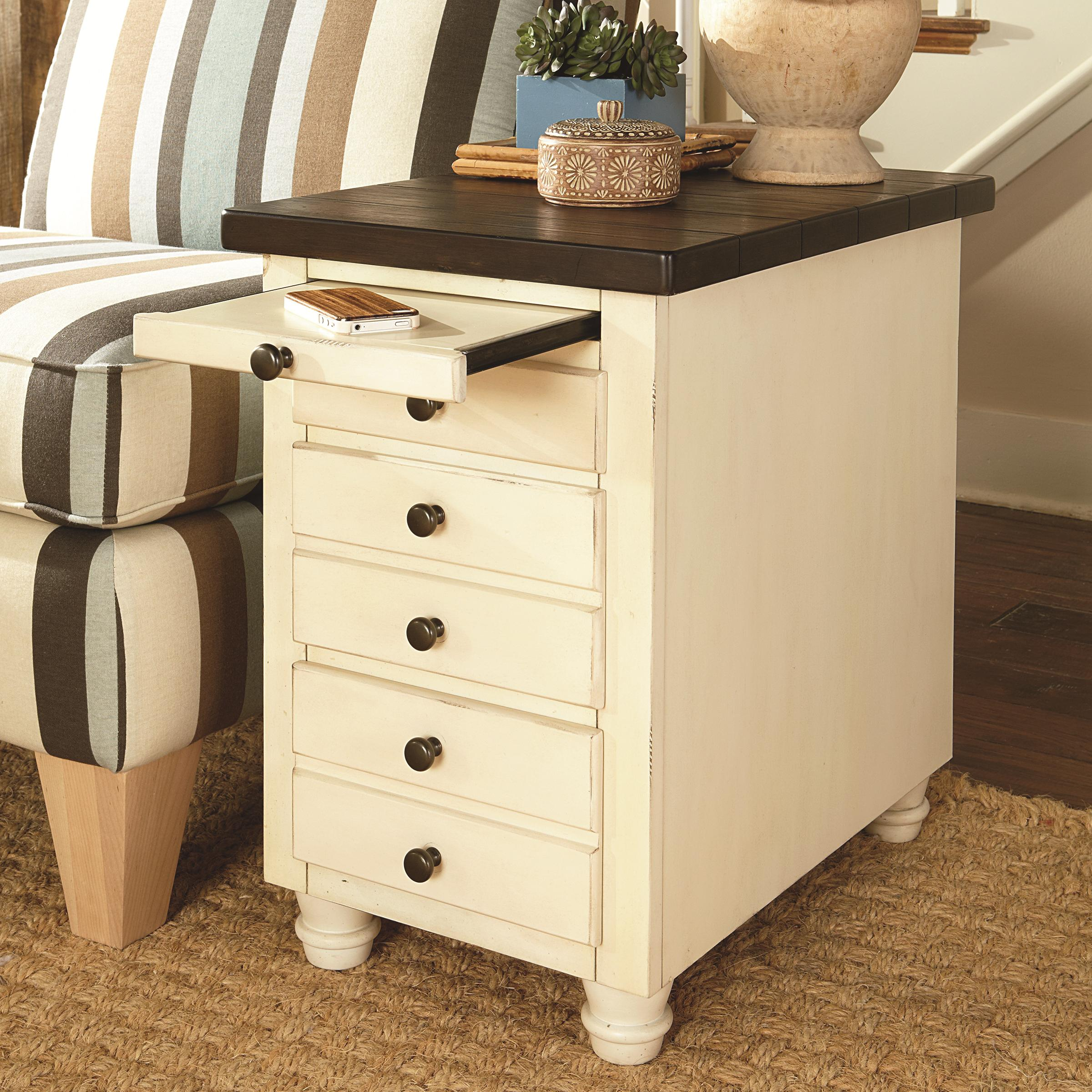 Chairside Table Chest with 3 Drawers and 1 Pull Out Shelf