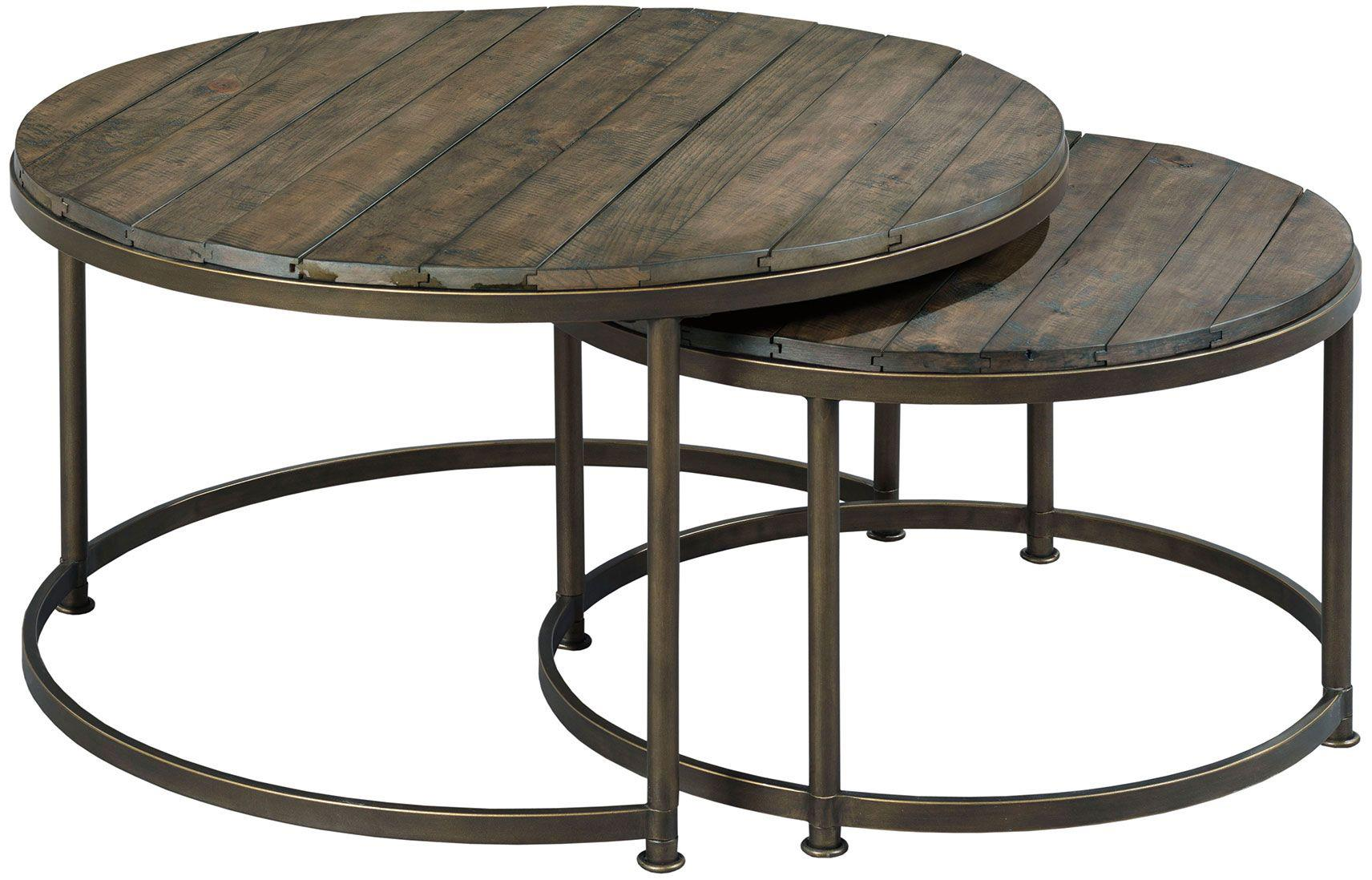 Round nesting cocktail table by hammary wolf and for Round stacking coffee table