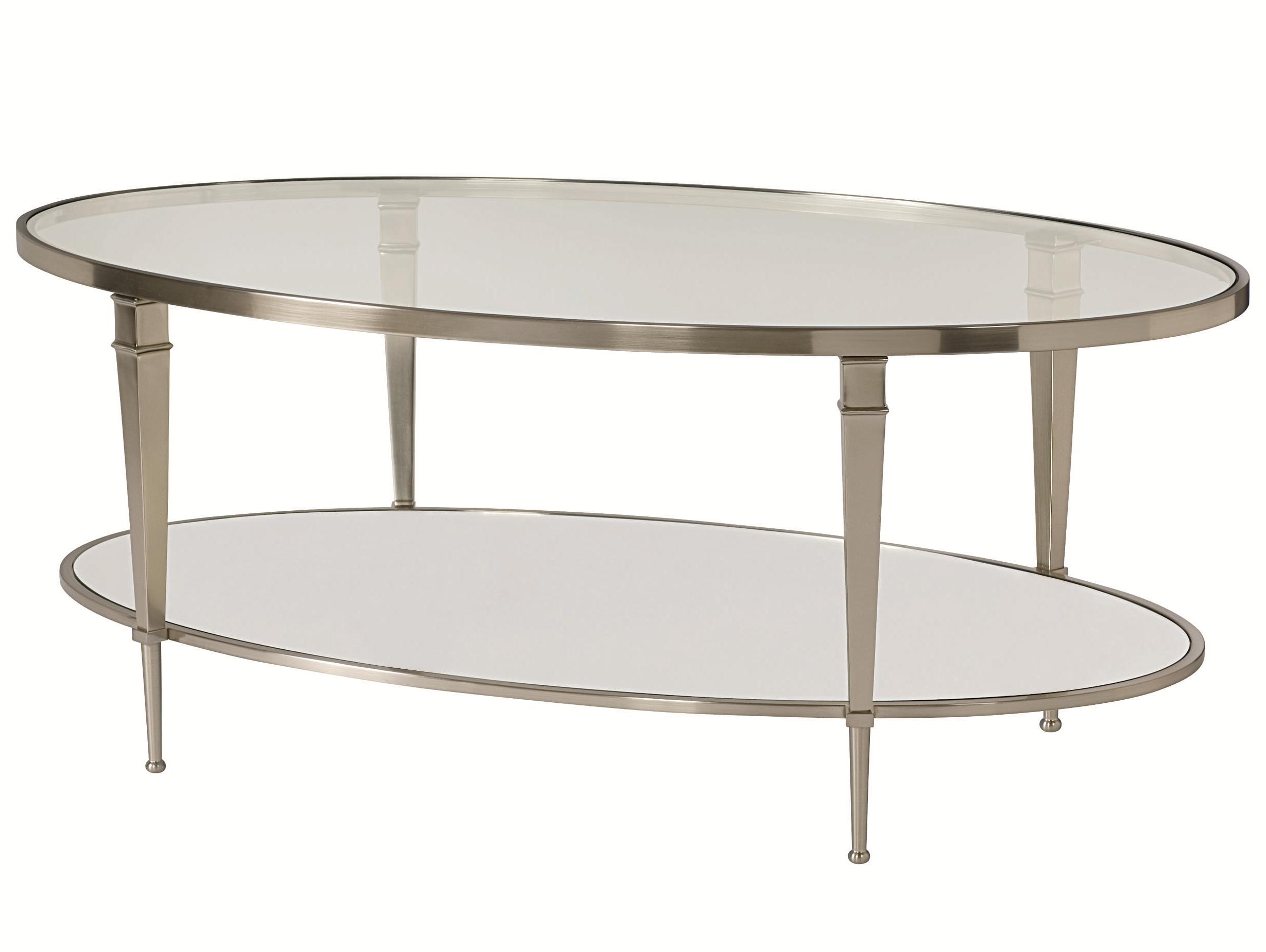 Oval satin nickel antique mirror finish cocktail table by for Coffee tables york pa