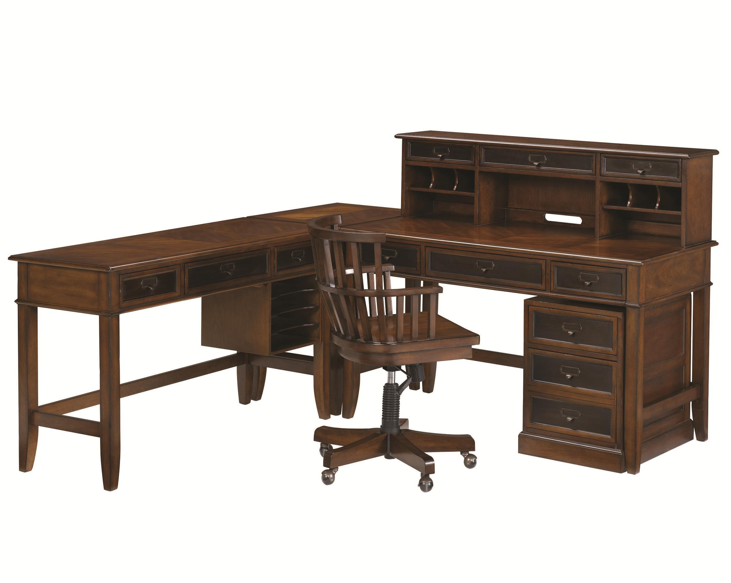 L Shaped Desk and Credenza by Hammary