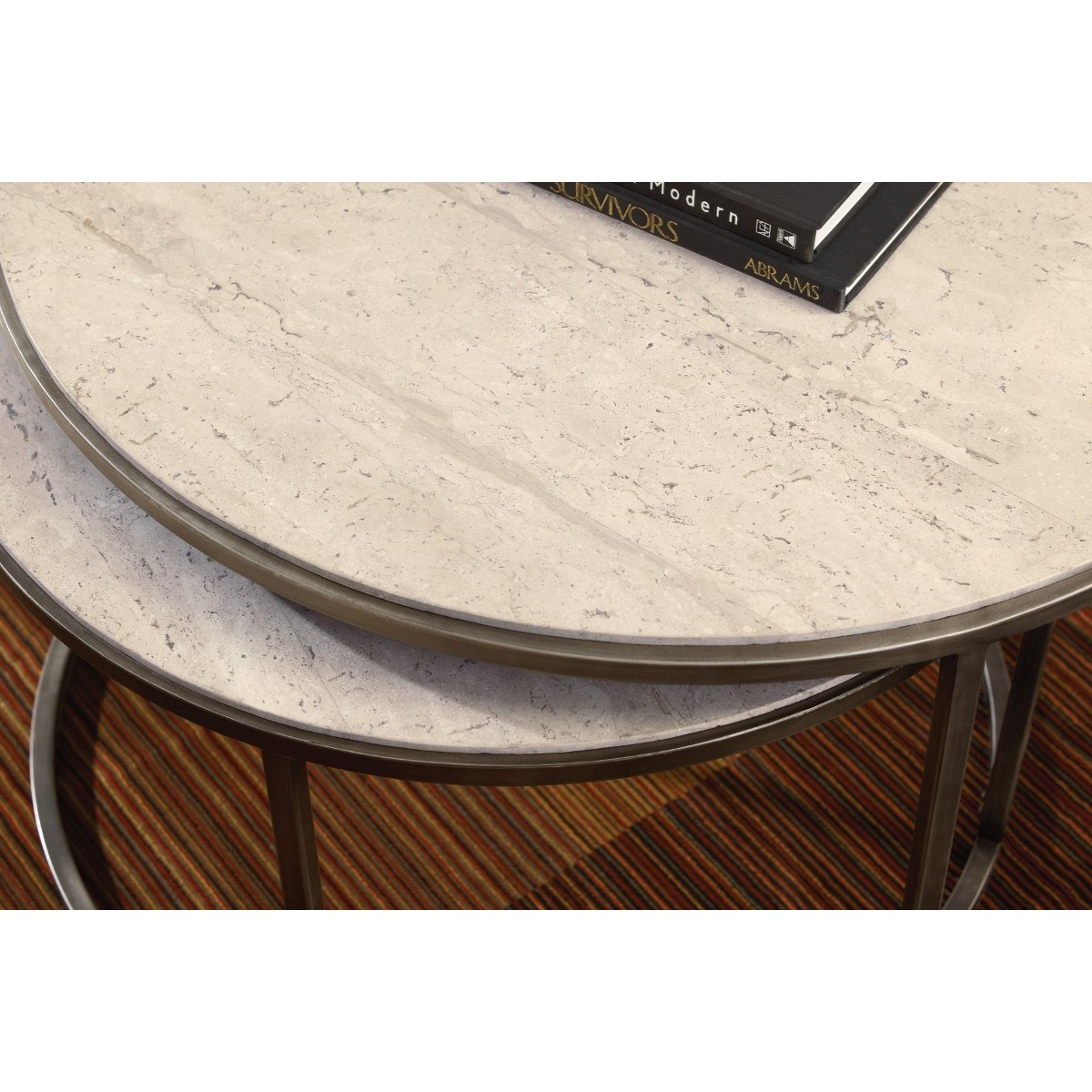 Round cocktail table with nesting tables by hammary wolf for Coffee tables york pa