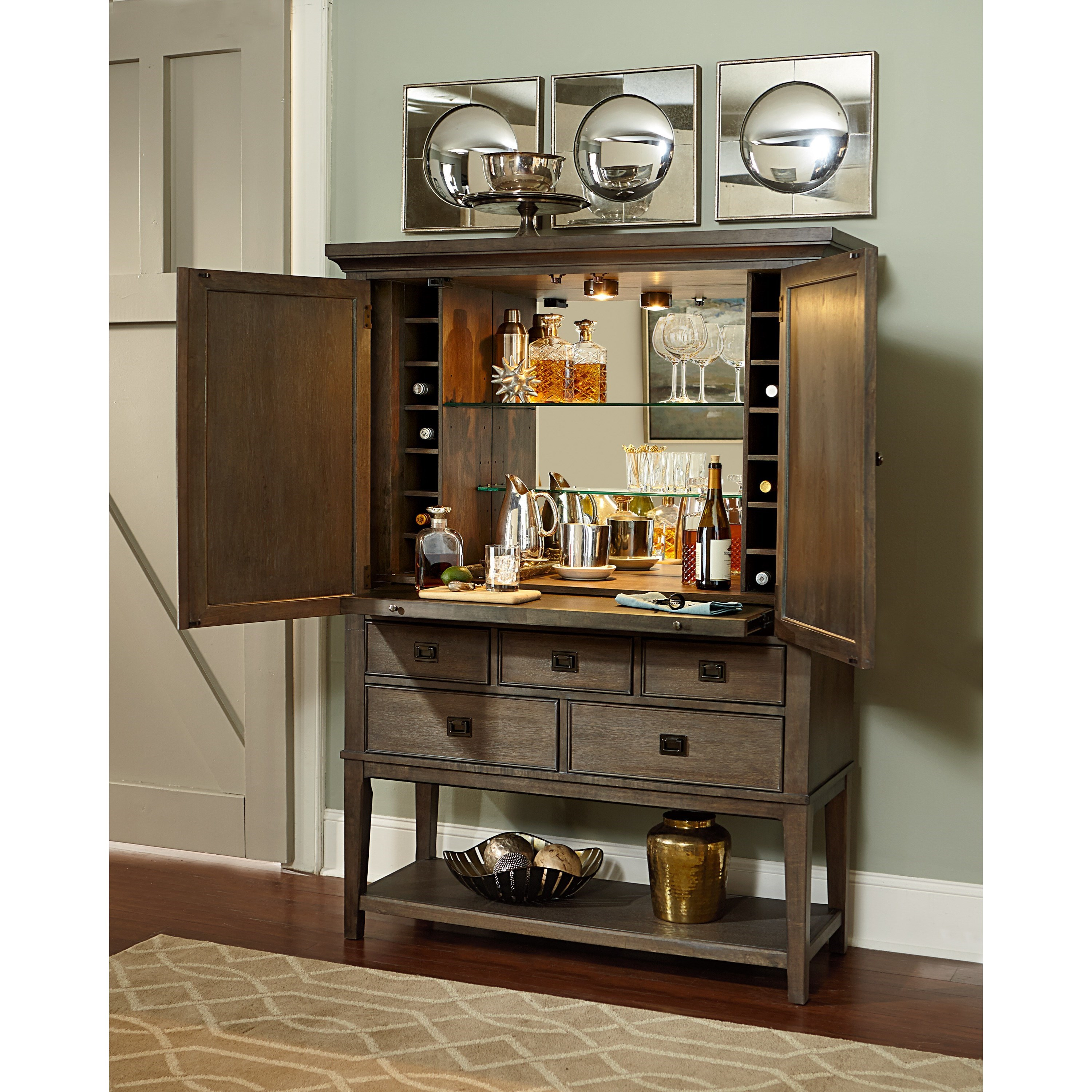 Contemporary Bar Cabinet With Bottle Storage And Pull Out Shelf By Hammary Wolf And Gardiner