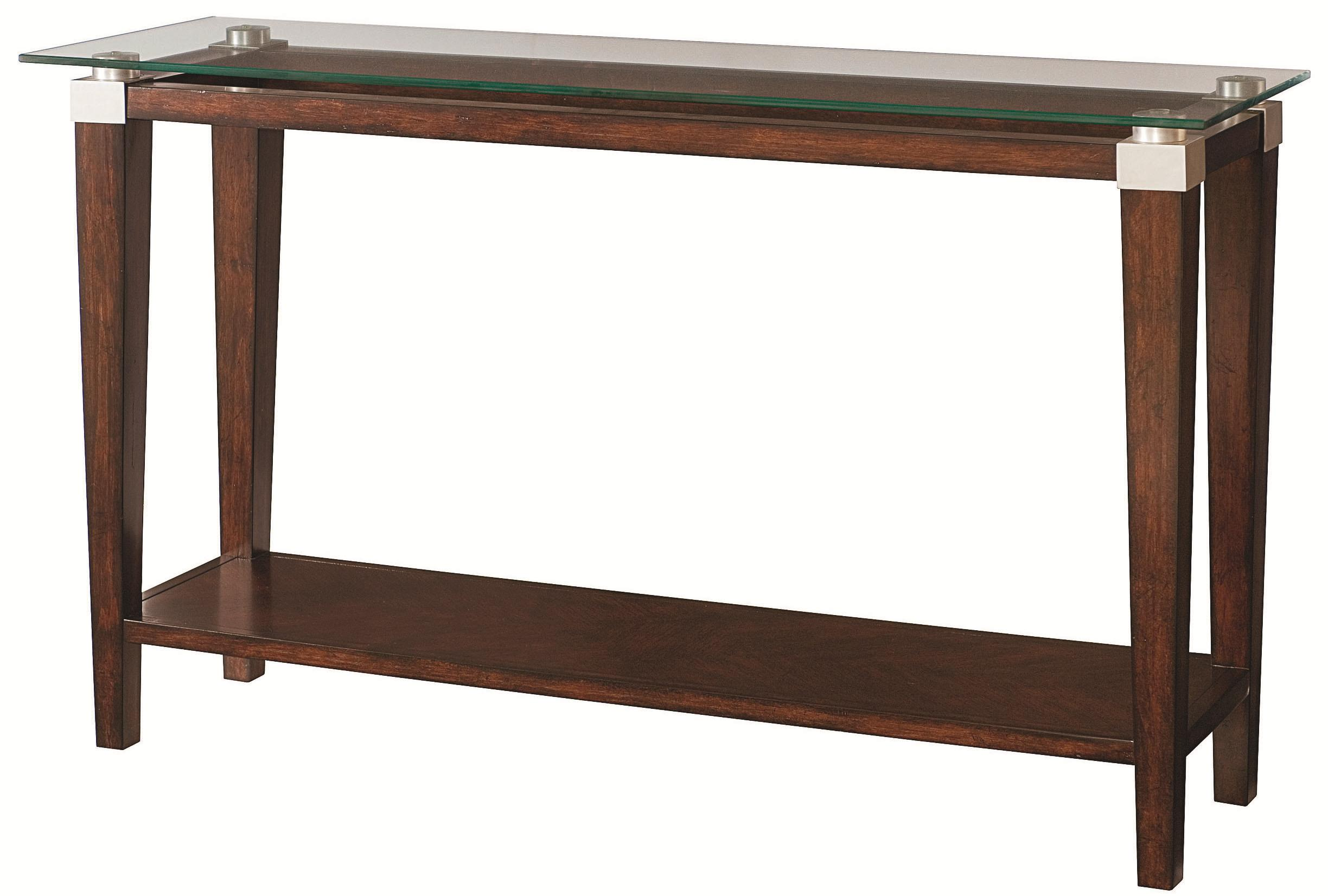 Contemporary sofa table with glass top by hammary wolf for Sofa table 50 inches
