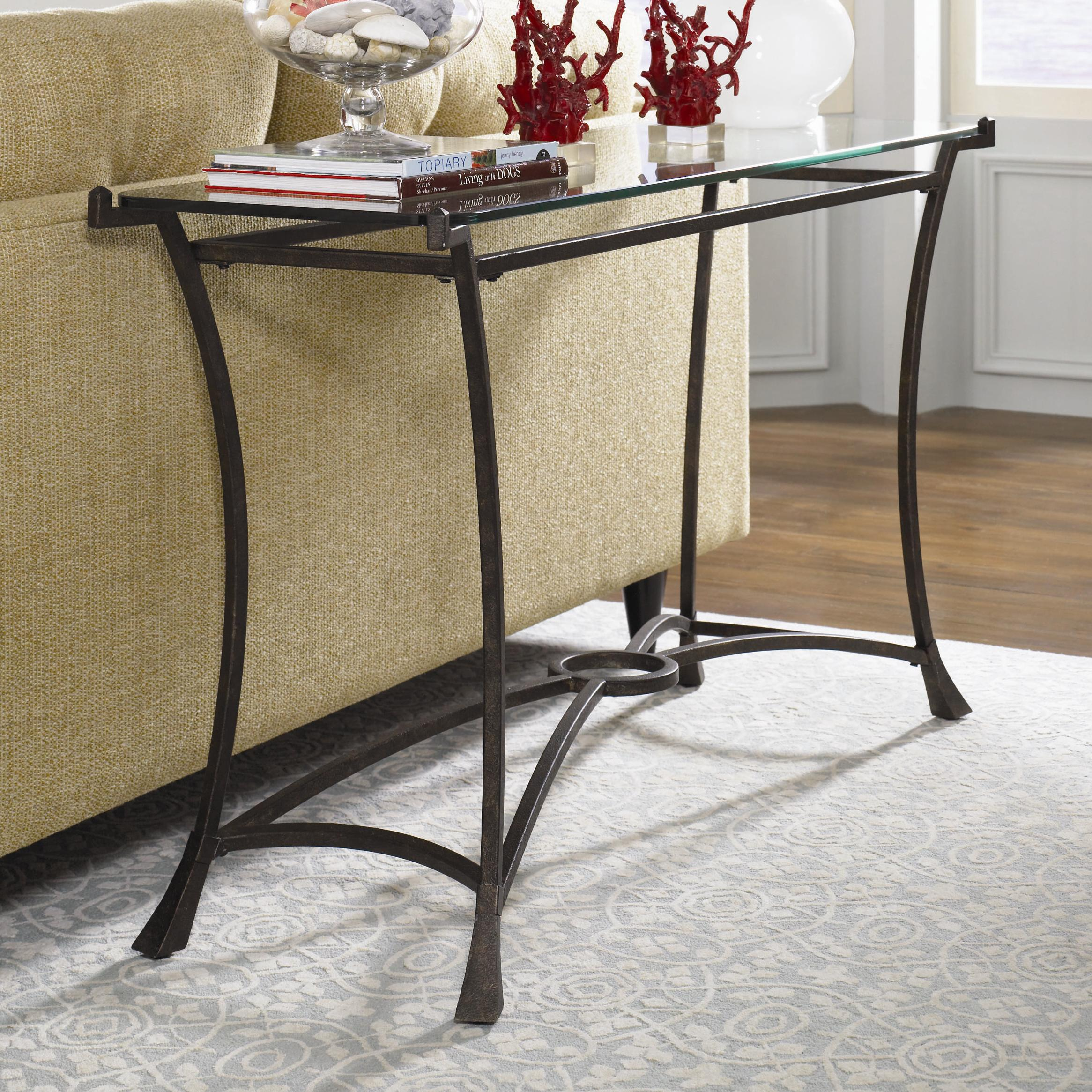 Contemporary metal sofa table with glass top by hammary for Metal and glass console tables