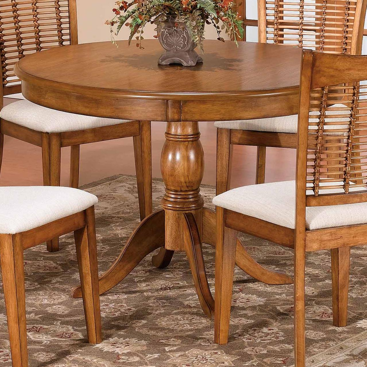 44 round single pedestal dining table by hillsdale wolf for 44 inch round dining table