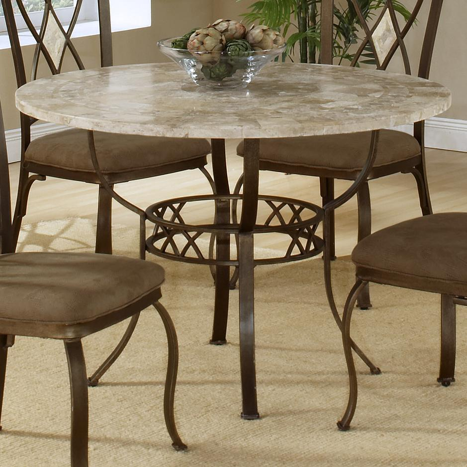 round dining table with fossil stone top by hillsdale. Black Bedroom Furniture Sets. Home Design Ideas
