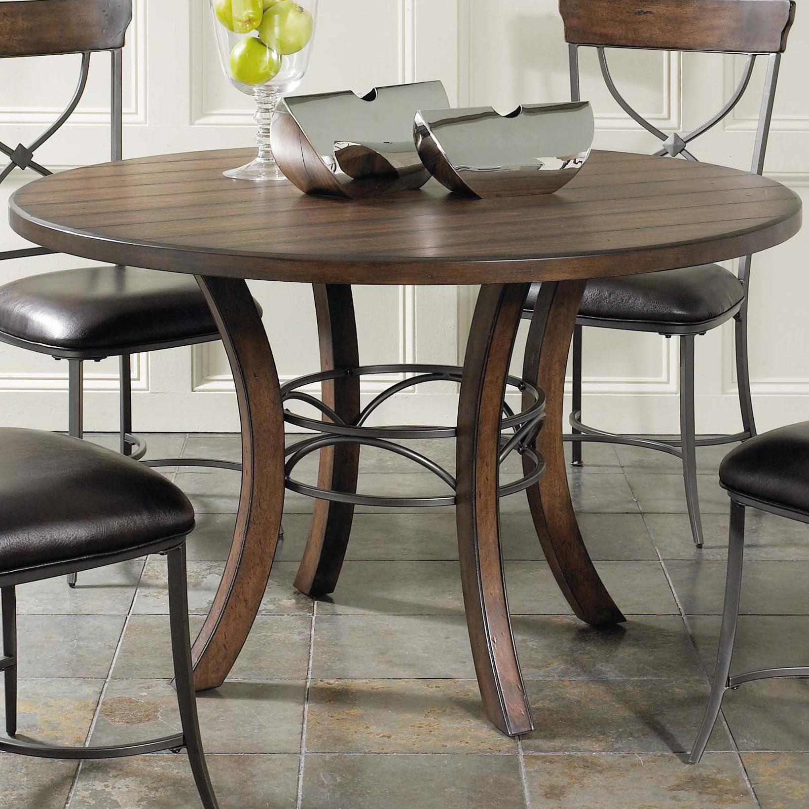 Round wood dining table with metal acent base by hillsdale for Small round wood kitchen table