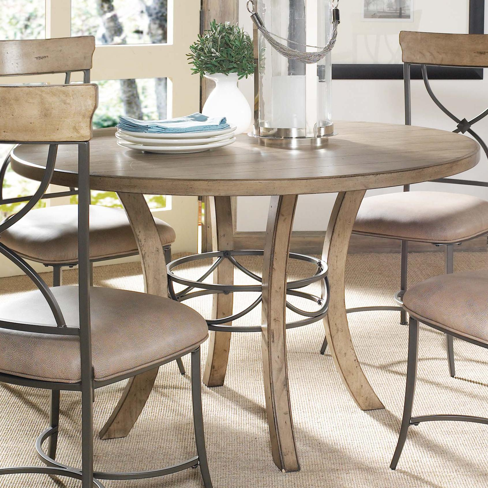 round wood table w metal pedestal ring by hillsdale wolf and gardiner wolf furniture. Black Bedroom Furniture Sets. Home Design Ideas