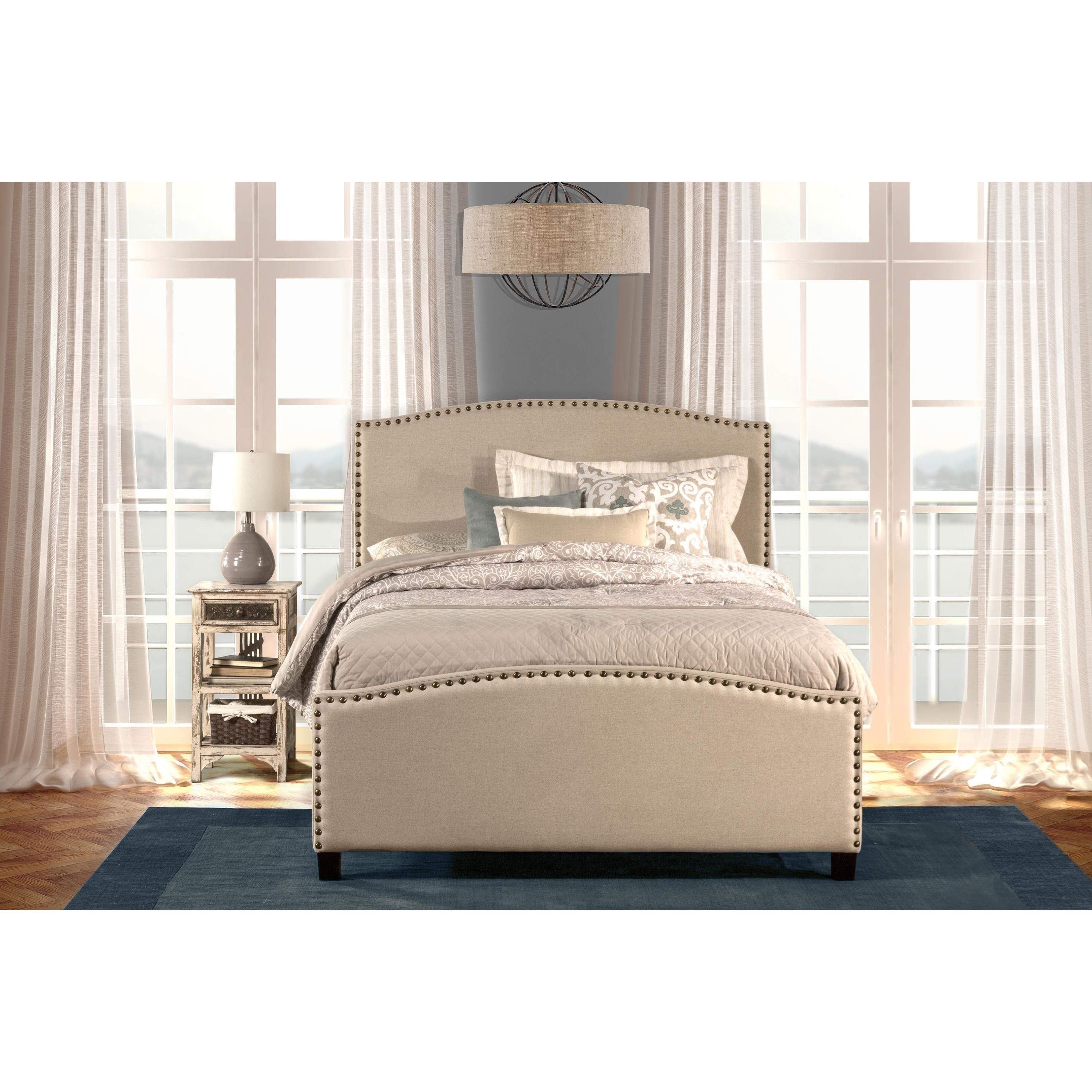 queen bed set with rails included and nail head trim by hillsdale wolf and gardiner wolf furniture. Black Bedroom Furniture Sets. Home Design Ideas