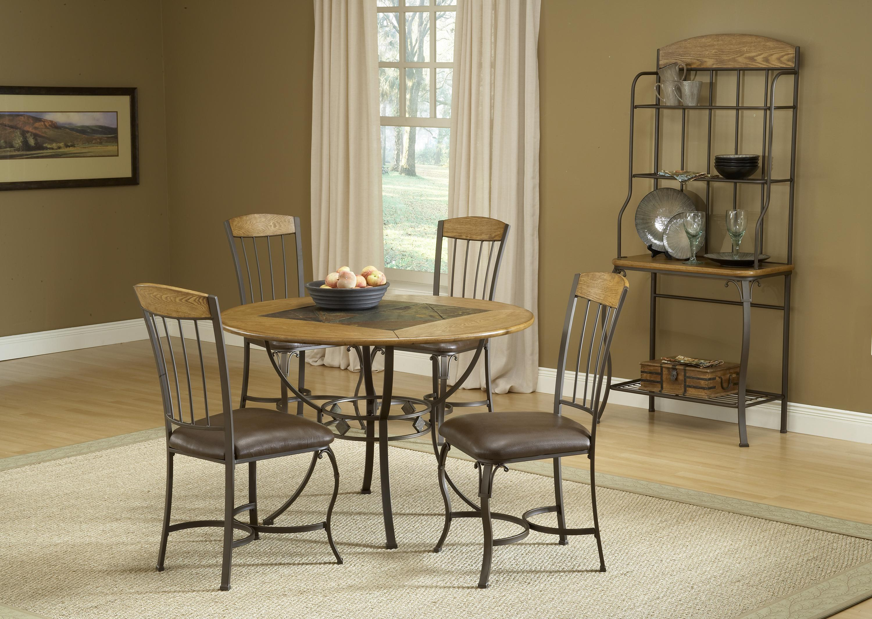 Round wood stone top dining table by hillsdale wolf for Round stone top dining table
