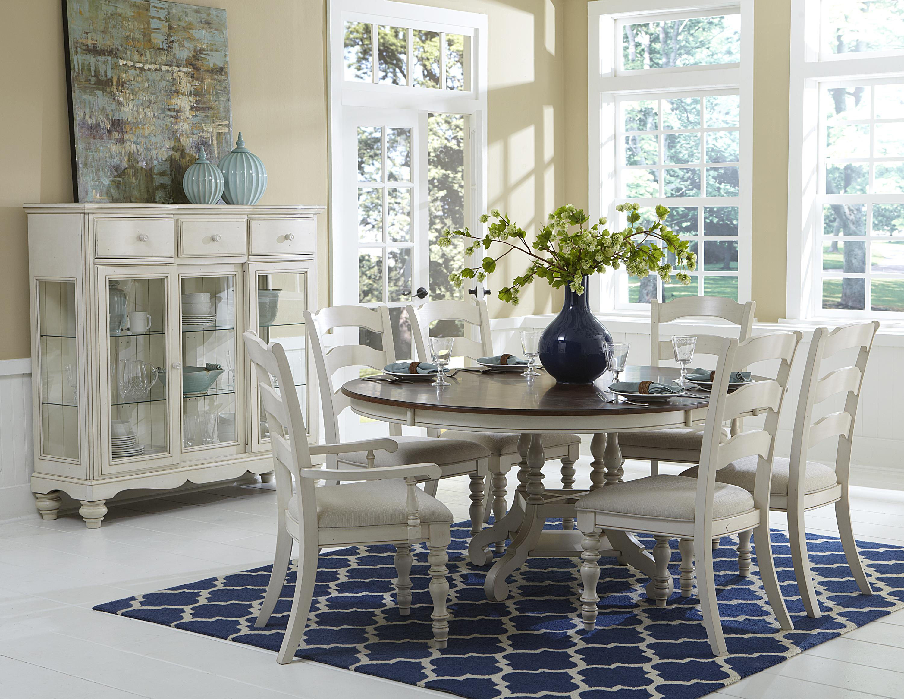 Brand new 7 Piece Round Dining Table Set with Ladder Back Side and Arm  AA38
