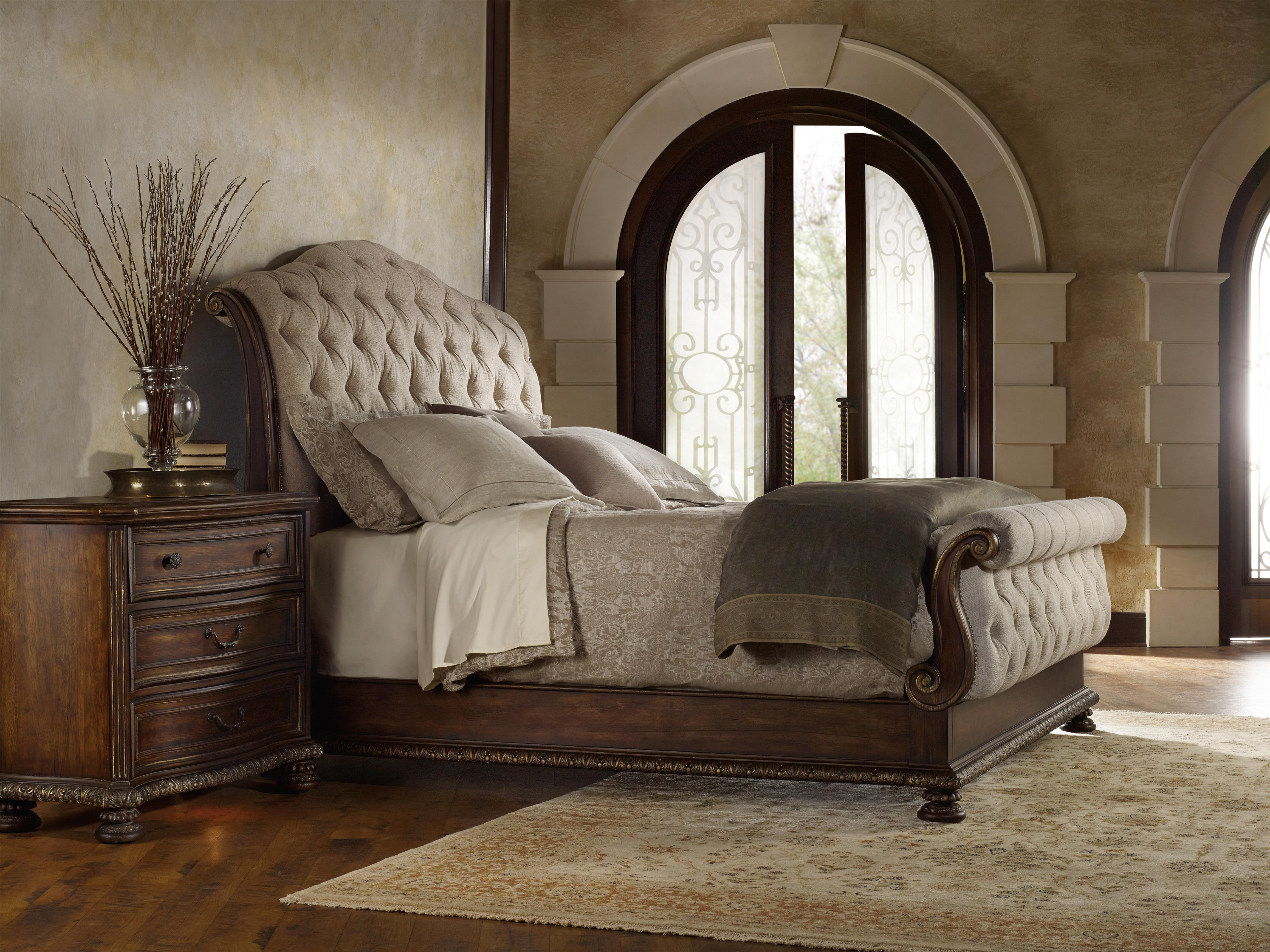 King Tufted Sleigh Bed With Upholstered Headboard And Footboard By Hooker Furniture Wolf And