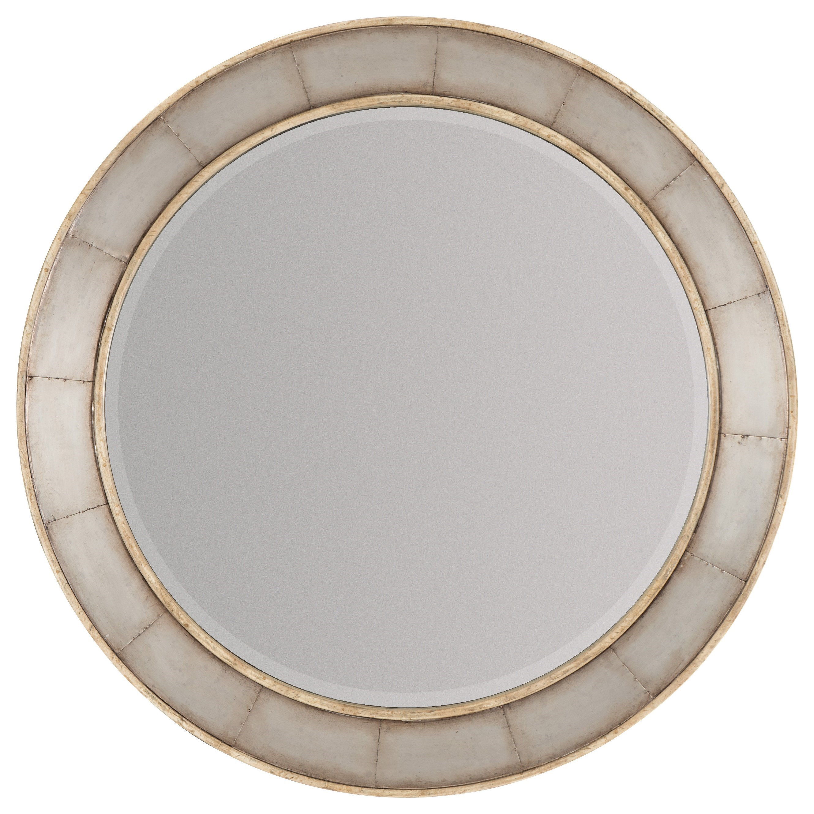 Wood And Glass Elevation : Wood frame round mirror with metal inlay by hooker