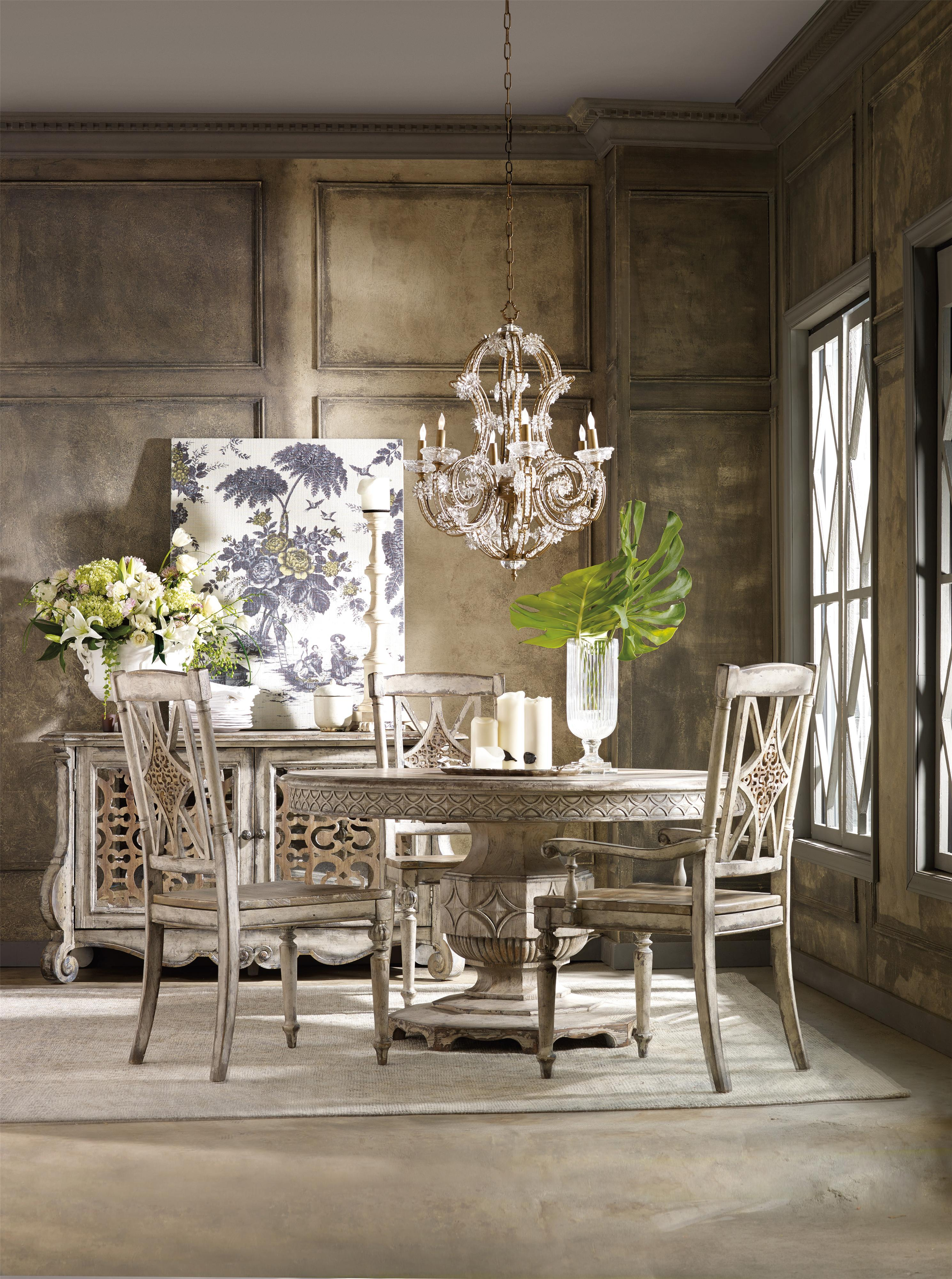 round dining table with carved apron by hooker furniture wolf and gardiner wolf furniture. Black Bedroom Furniture Sets. Home Design Ideas