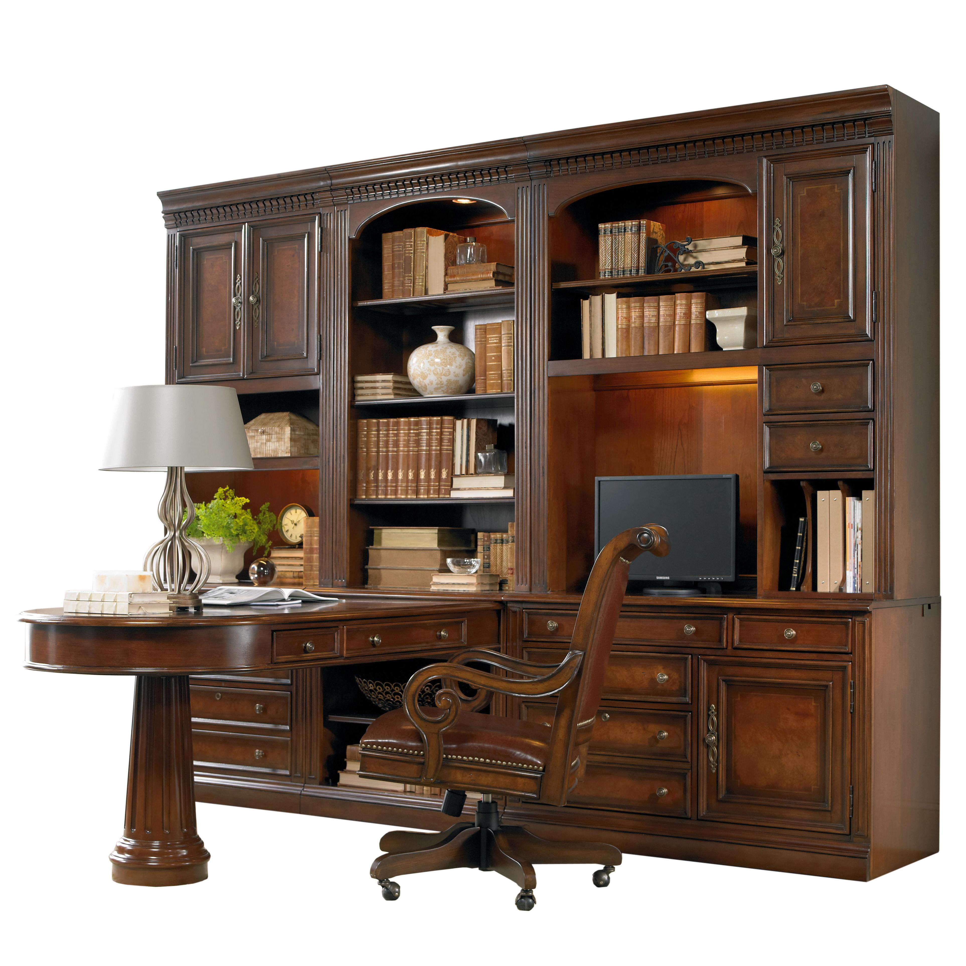 Office wall unit with peninsula desk computer credenza for At home furniture