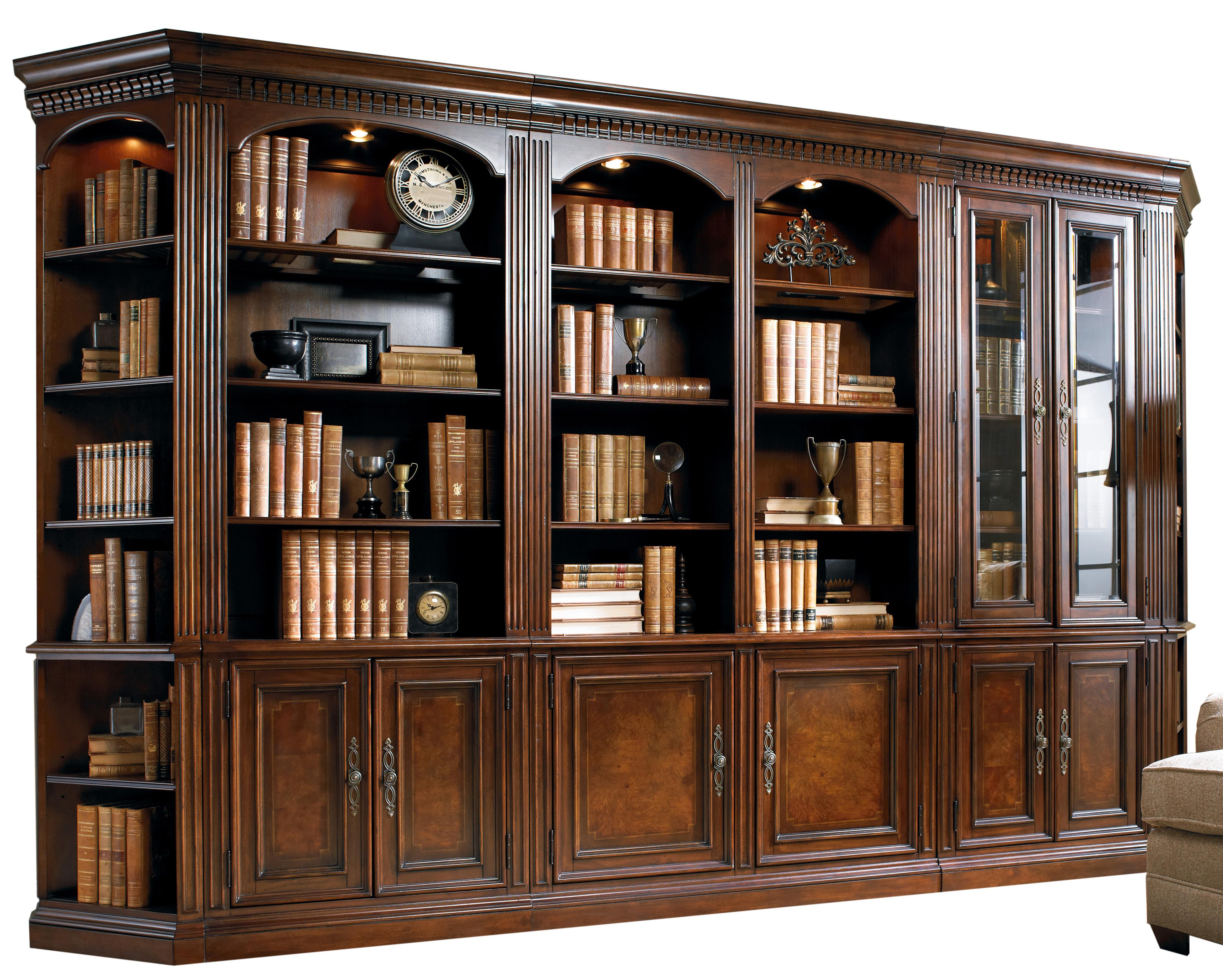 Five Piece Library Wall Unit With Touch Lighting And